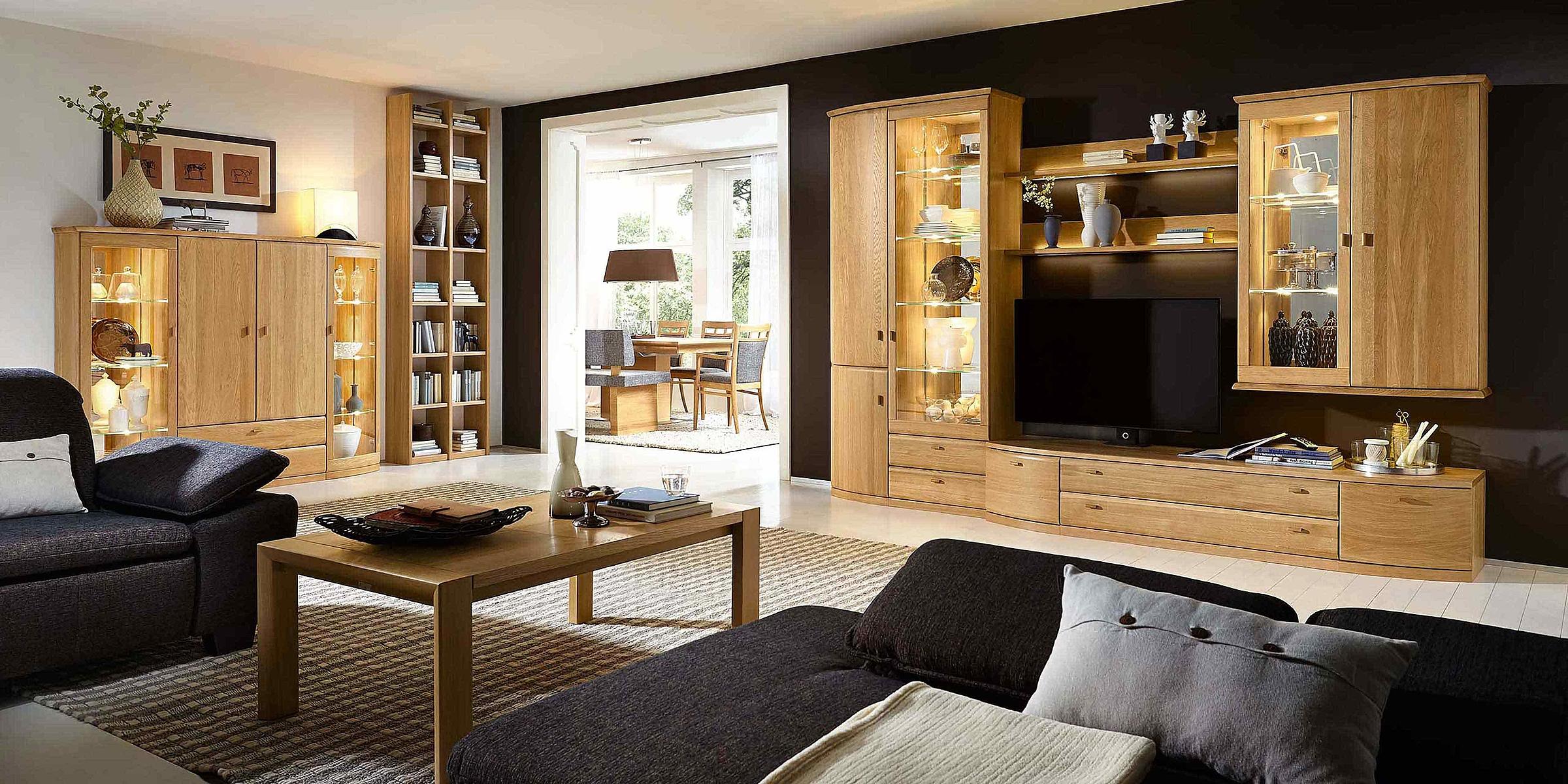 Vitrine Regal Wohnwand Couchtisch Wohnzimmer Opus Holz Eiche sand massiv