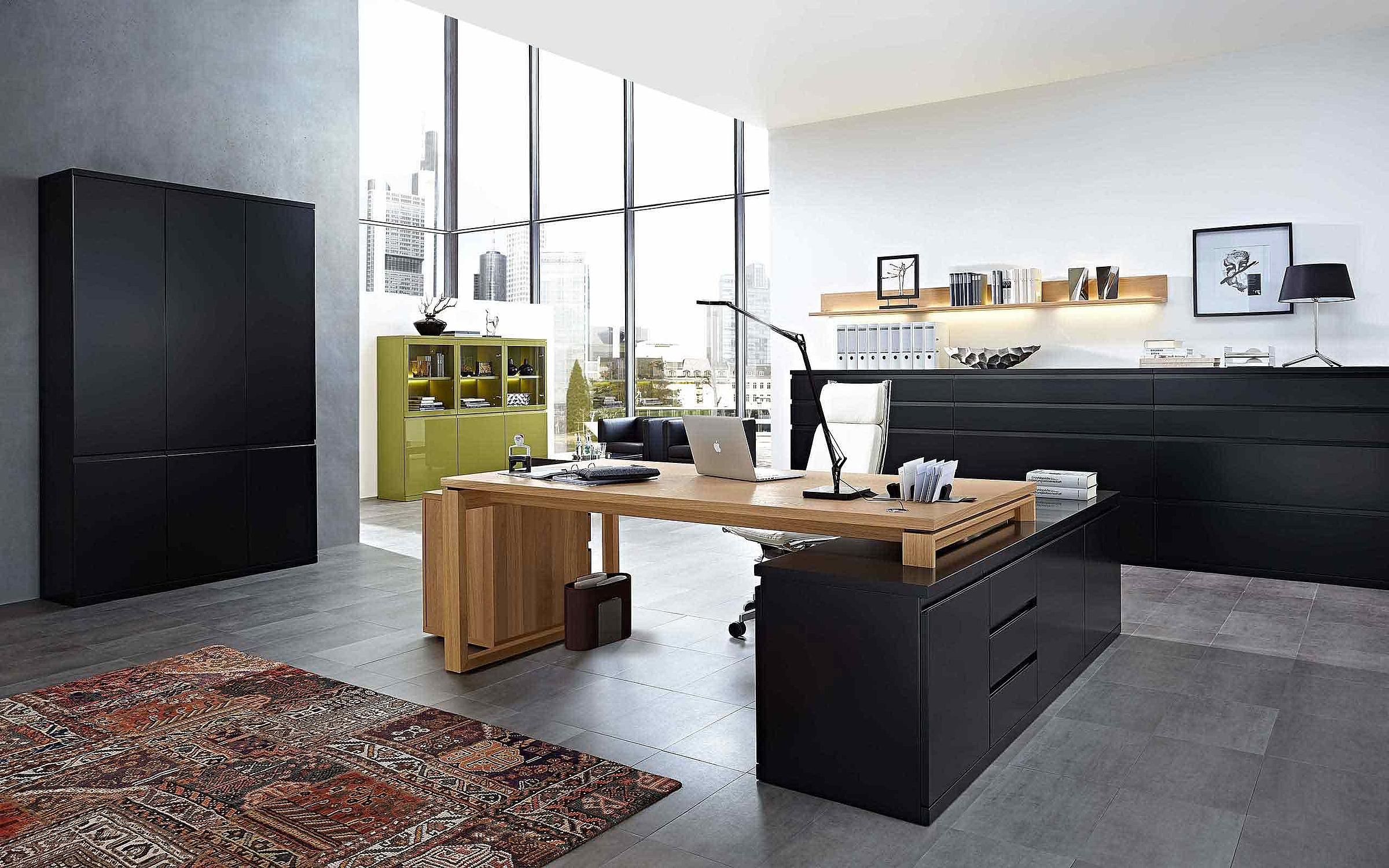 Garderobenschrank Sideboard Schreibtisch Büro Enjoy Lack schwarz Lack Tundra