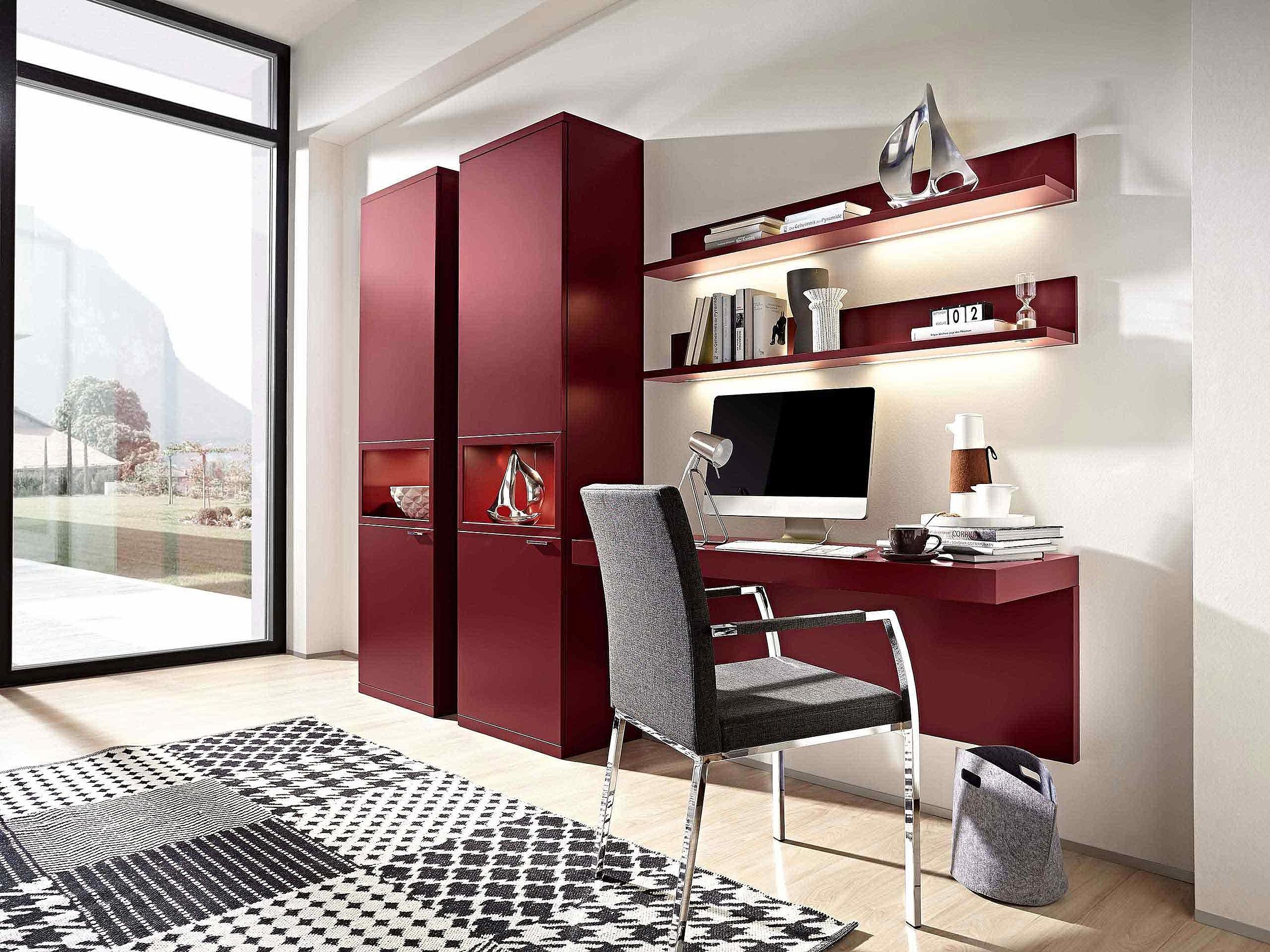 Schreibplatz Stuhl Wohnzimmer Siena rot