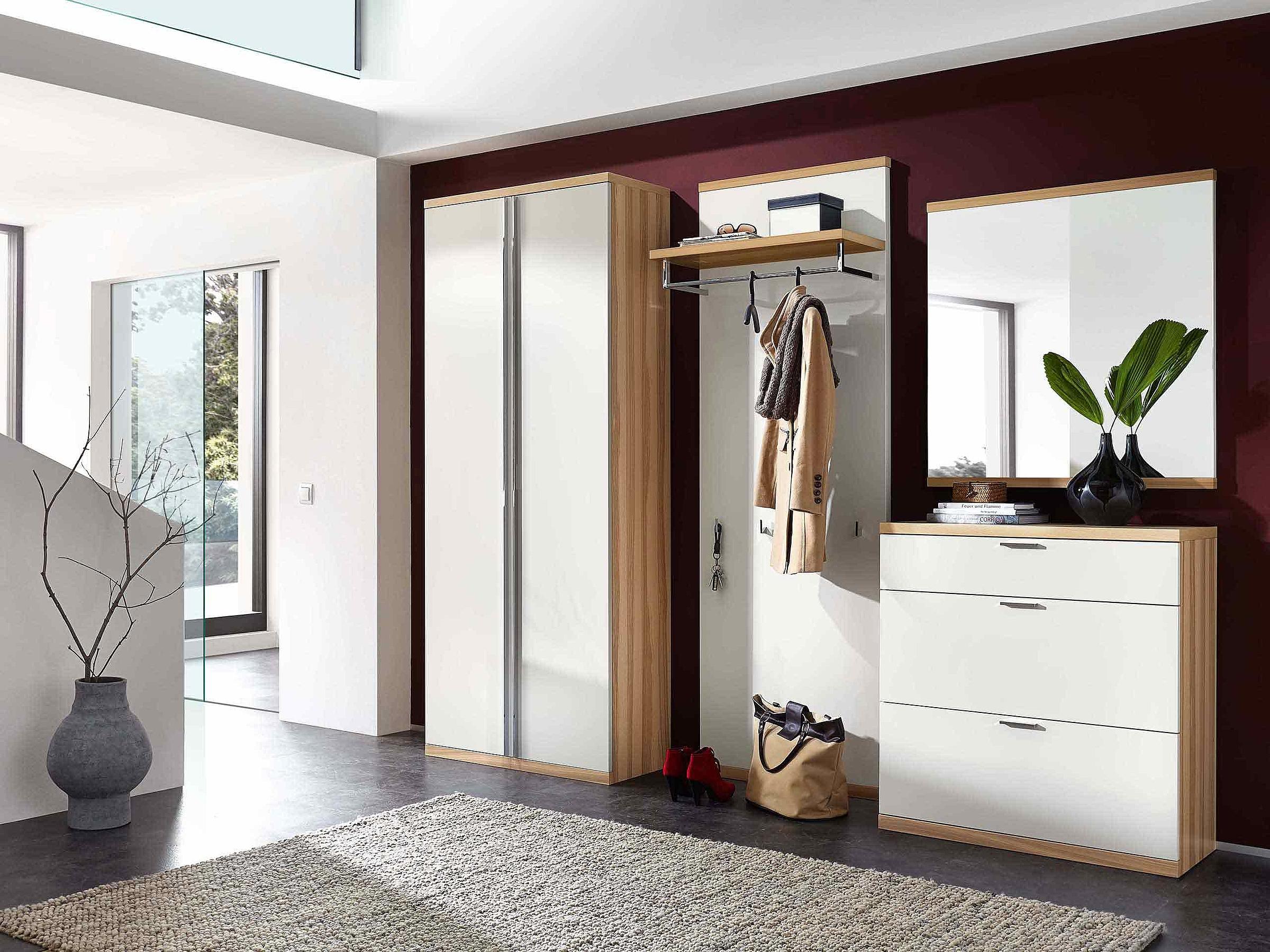 Garderobenschrank Garderobenpaneel Schuhschrank Spiegel Garderobe Siena Lack weiß Holz Kernesche