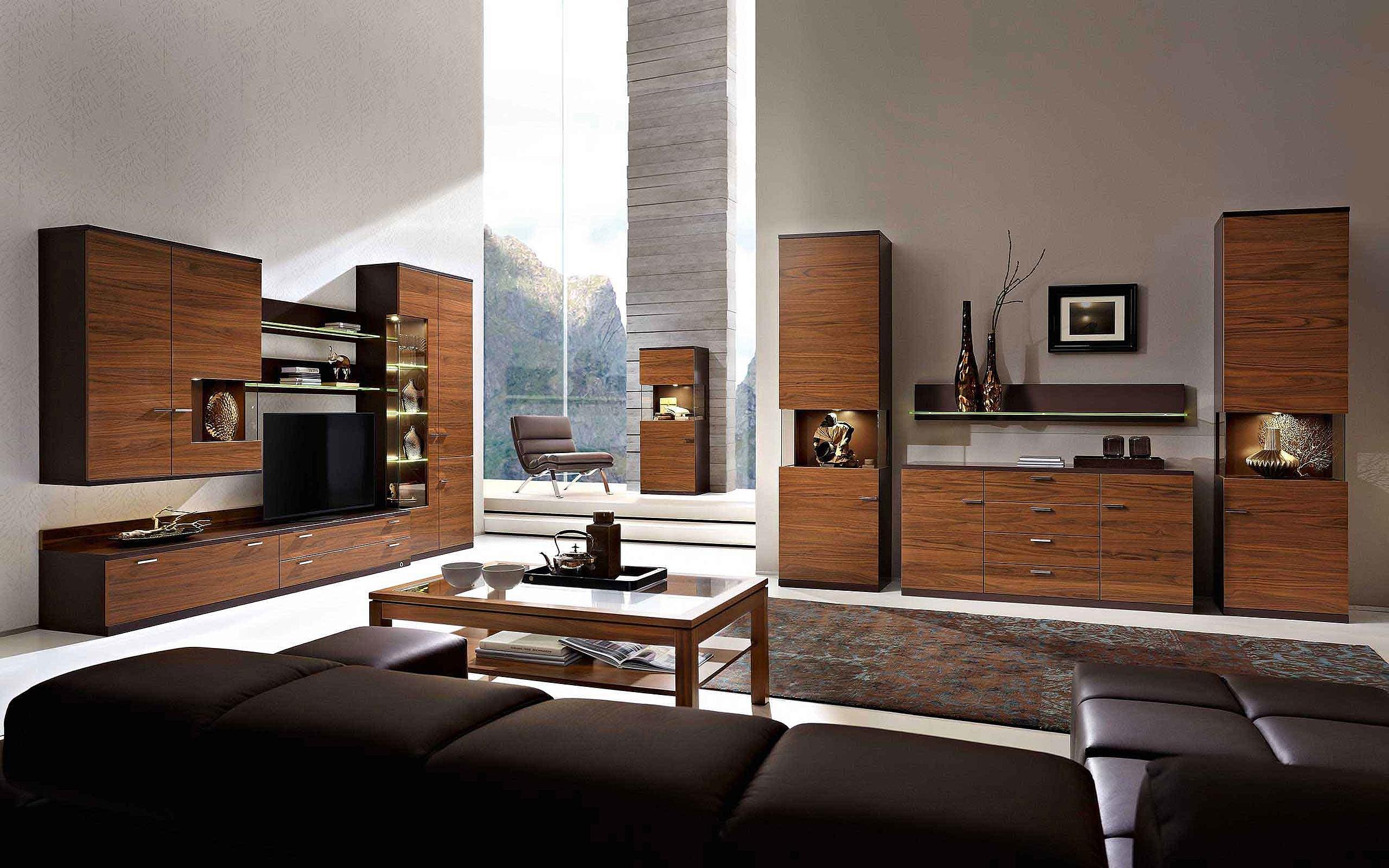 Wohnwand Couchtisch Wohnzimmer Holz Nussbaum Nova Lack braun