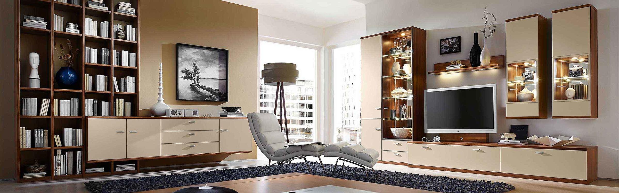 Wohnwand Regal Couchtisch Wohnzimmer Hochglanz Manhattan