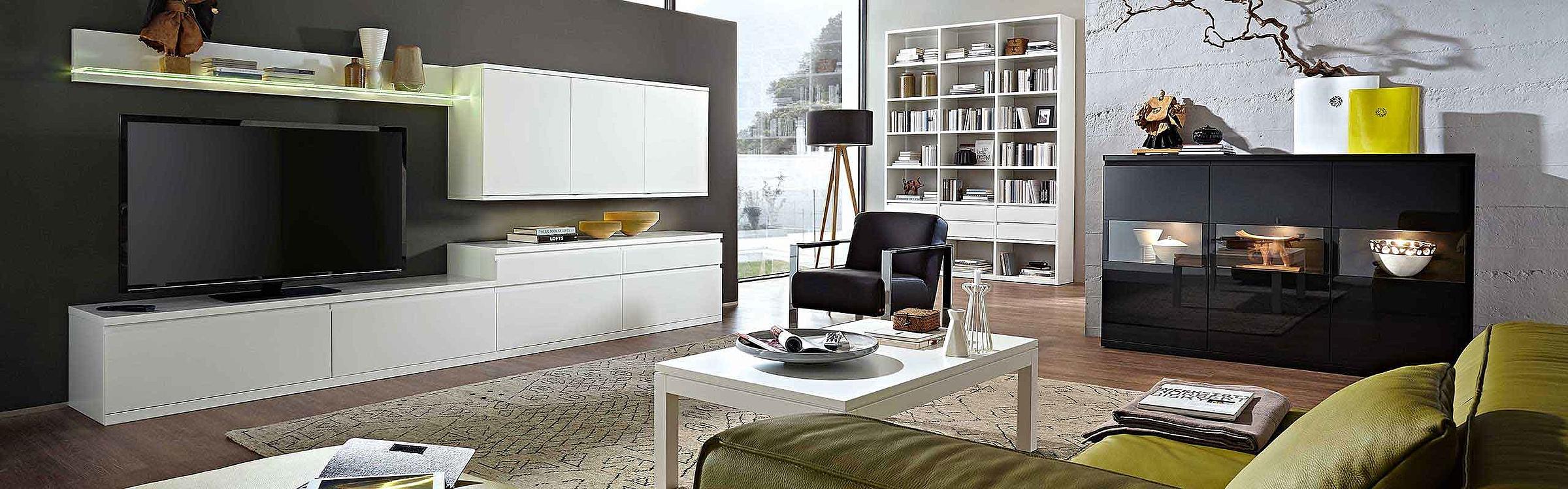 Wohnwand Regal Couchtisch Sideboard Wohnzimmer Enjoy Lack weiß schwarz