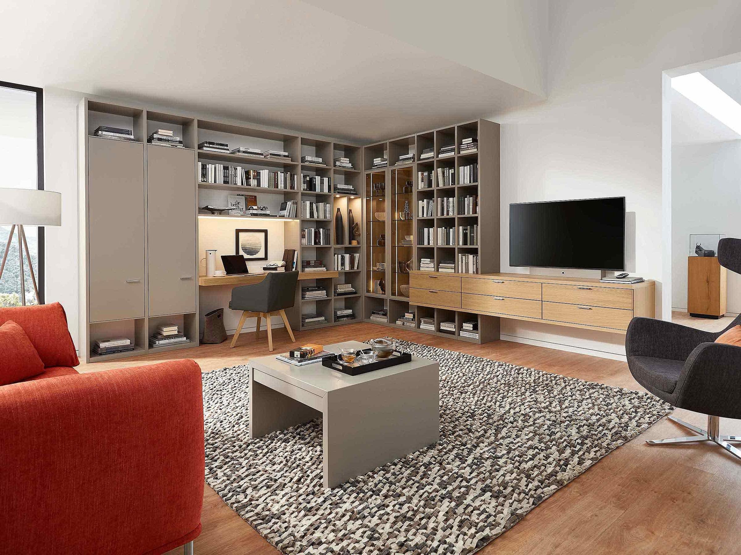 Bibliothek Stuhl Wohnzimmer Siena Lack grau