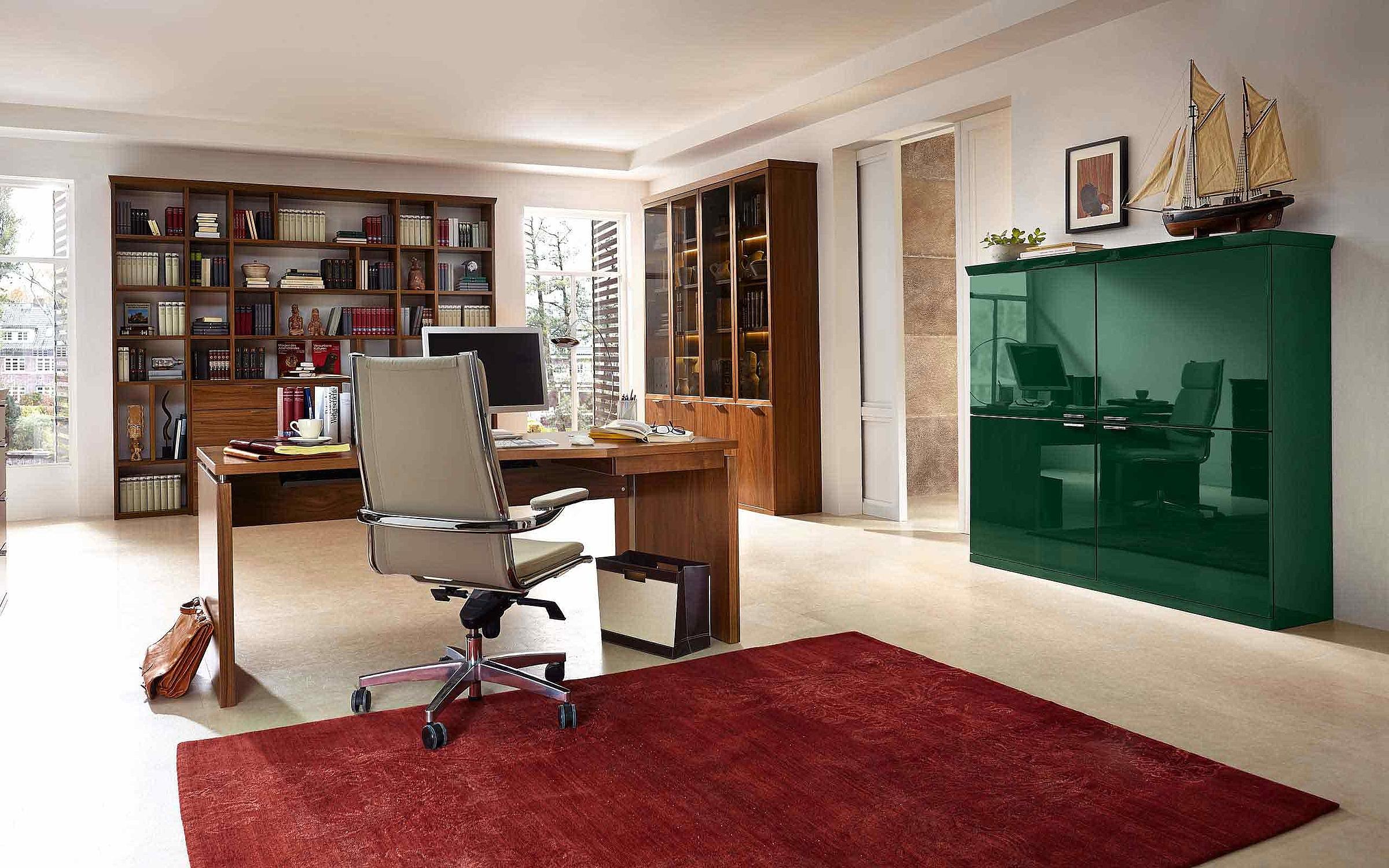 Bibliothek Schreibtisch Vitrine Büro Siena Lack grün hochglanz