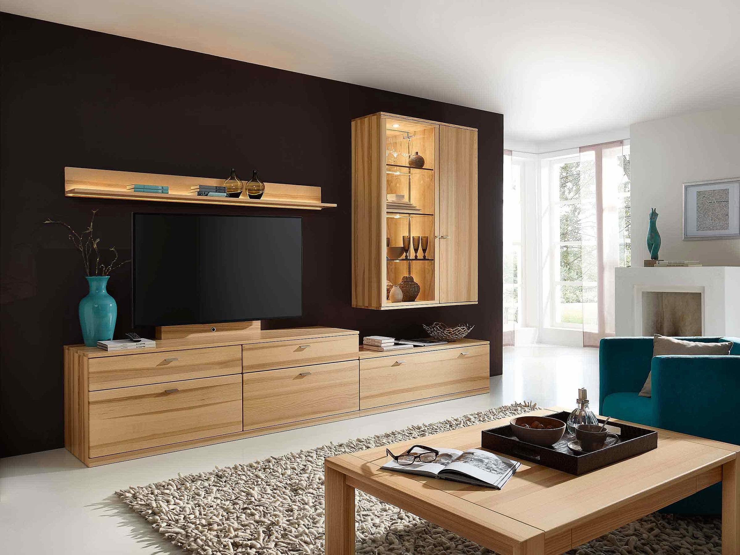 Wohnwand Couchtisch Wohnzimmer Allegro massiv