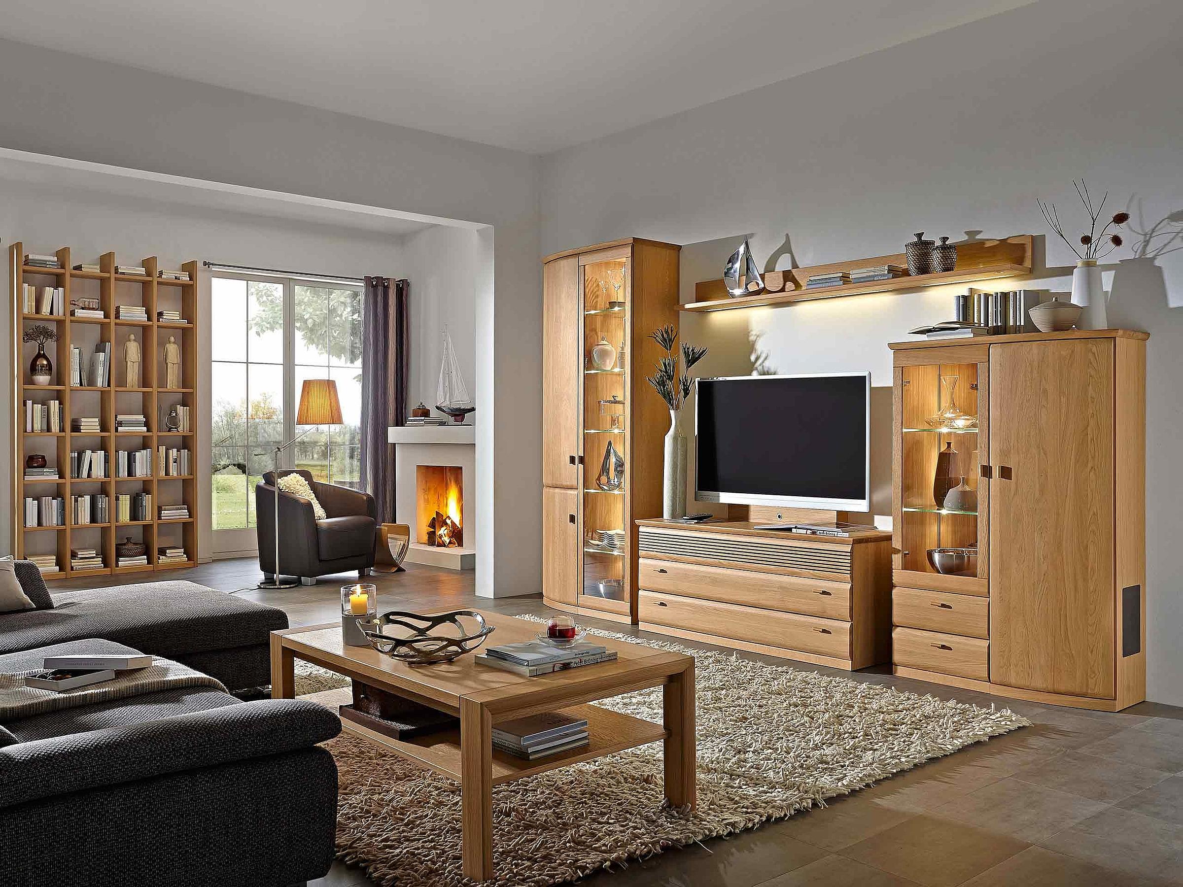 Regal Couchtisch Wohnwand Wohnzimmer Opus Holz Eiche sand massiv