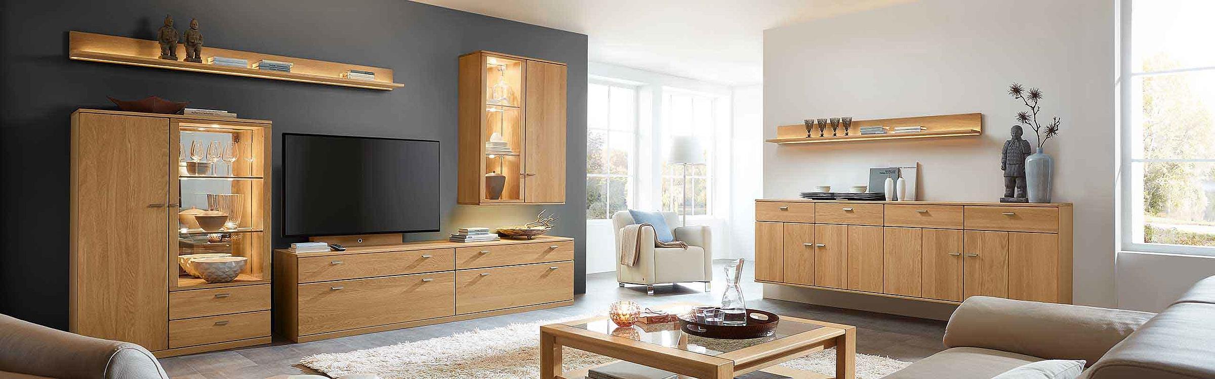 Wohnwand Couchtisch Sideboard hängend Wohnzimmer Allegro Holz Eiche sand massiv