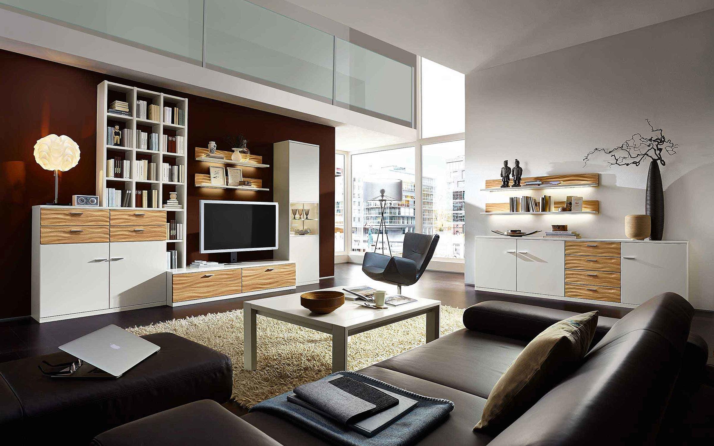 Wohnwand Hängesideboard Couchtisch Wohnzimmer Manhattan