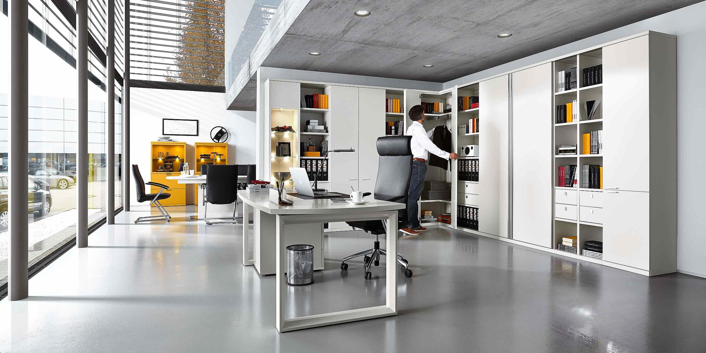 Schreibtisch Eckschrank Büro Siena Lack weiß gelb