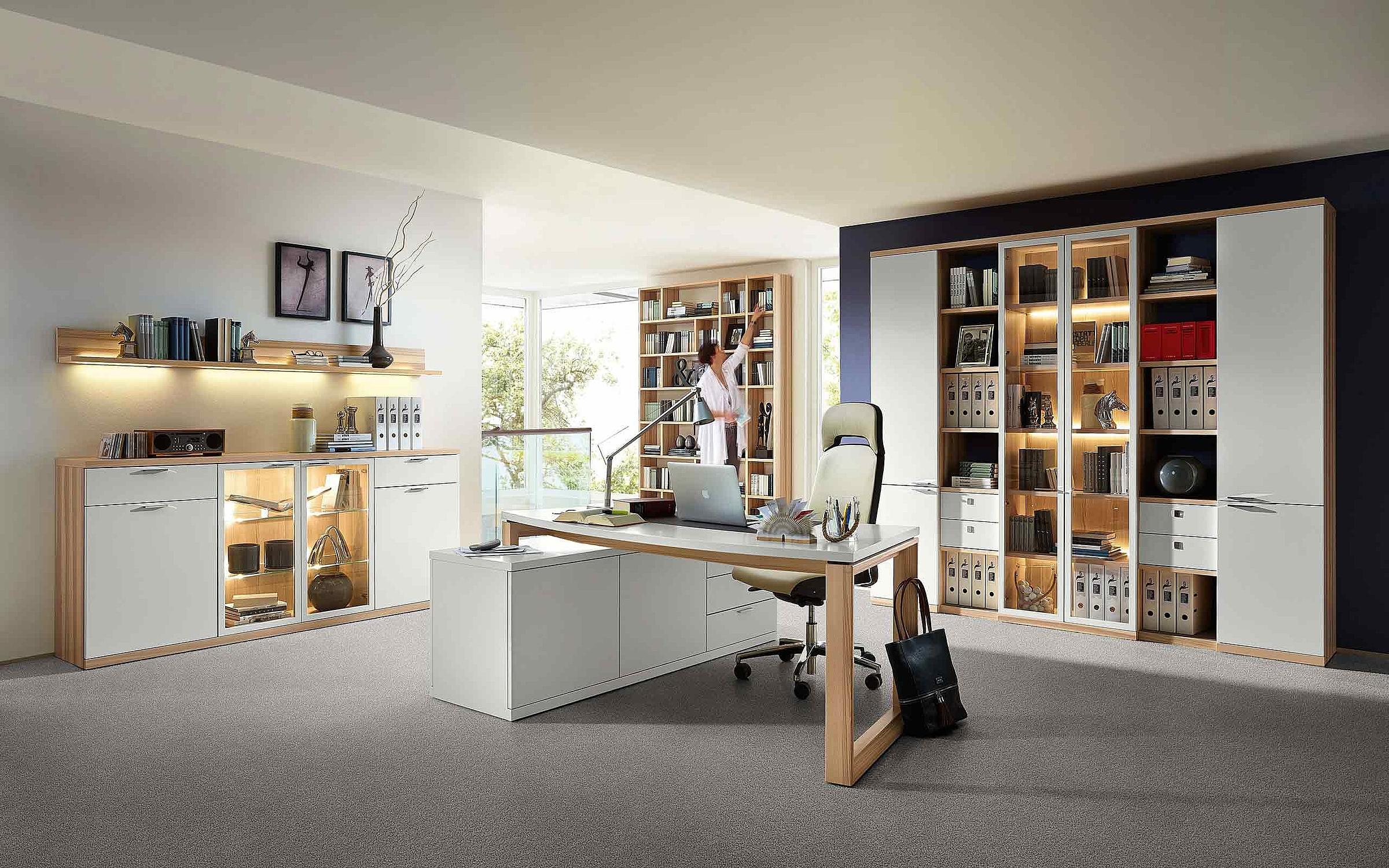 Sideboard Regal Schreibtisch Büro Siena Lack weiß