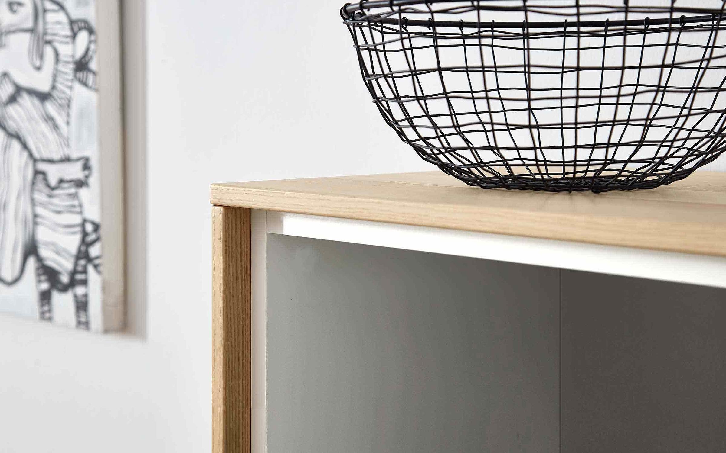 Sideboard Wohnzimmer Deviso Lack weiß