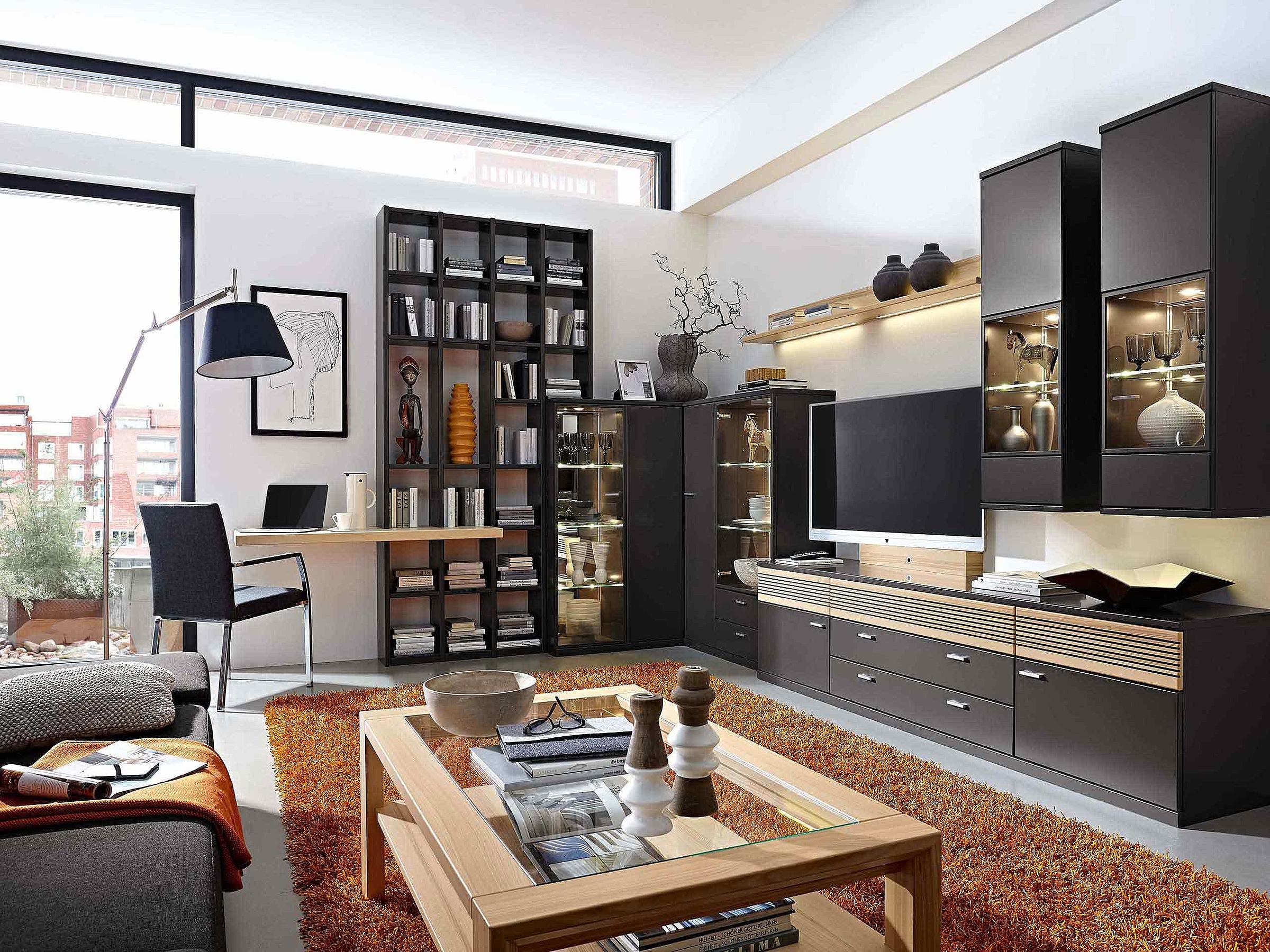 Eckwand Regal Schreibplatz Akustikblende Wohnzimmer Manhattan