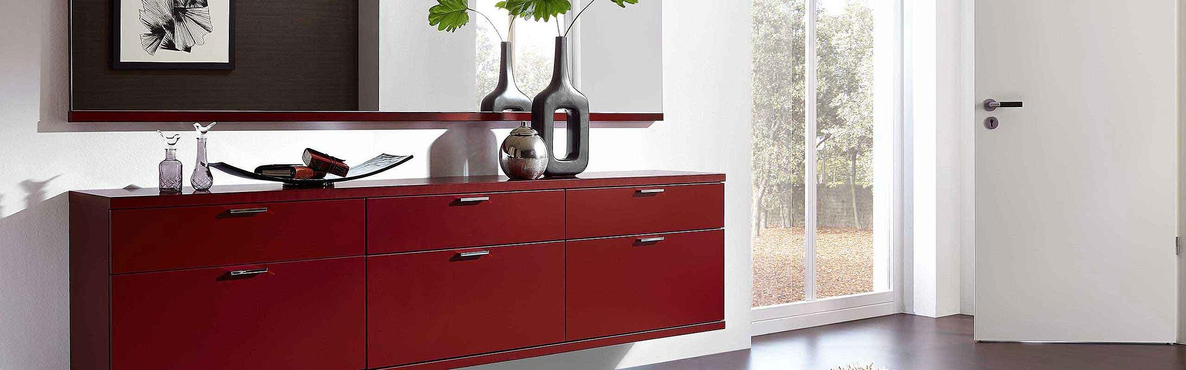 Schuhschrank Spiegel Garderobe Siena rot