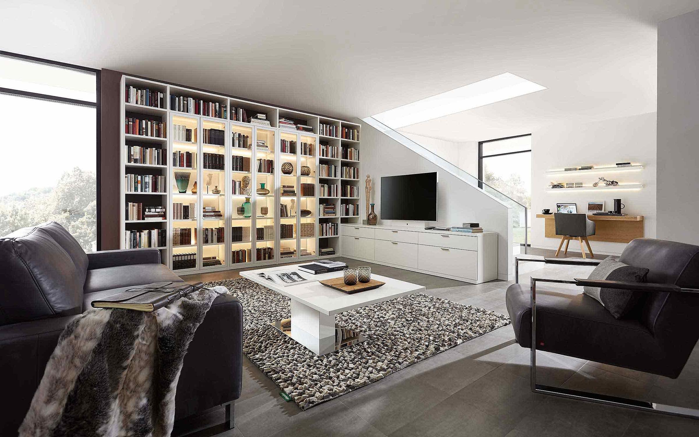 Bibliothek Wohnzimmer Siena Lack weiß