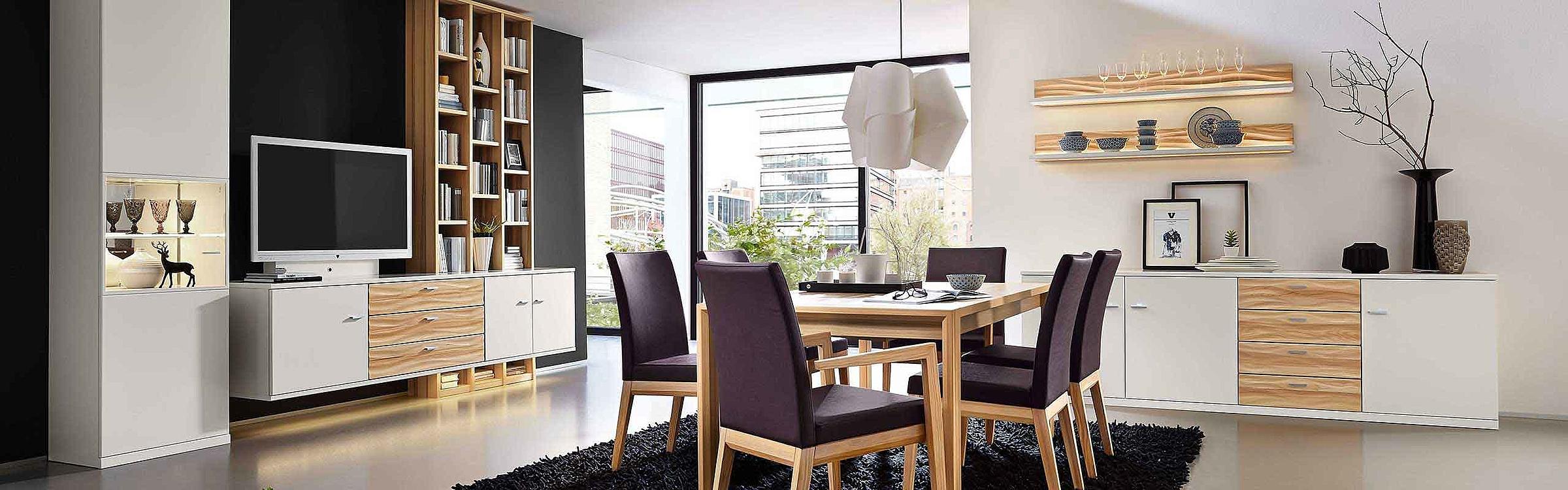 Wohnwand Regal Esstisch Stuhl Polster Leder Sideboard Esszimmer Manhattan