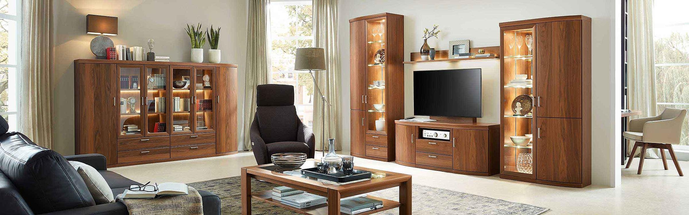 Wohnwand Vitrine Couchtisch Wohnzimmer Malta Holz Nussbaum nova