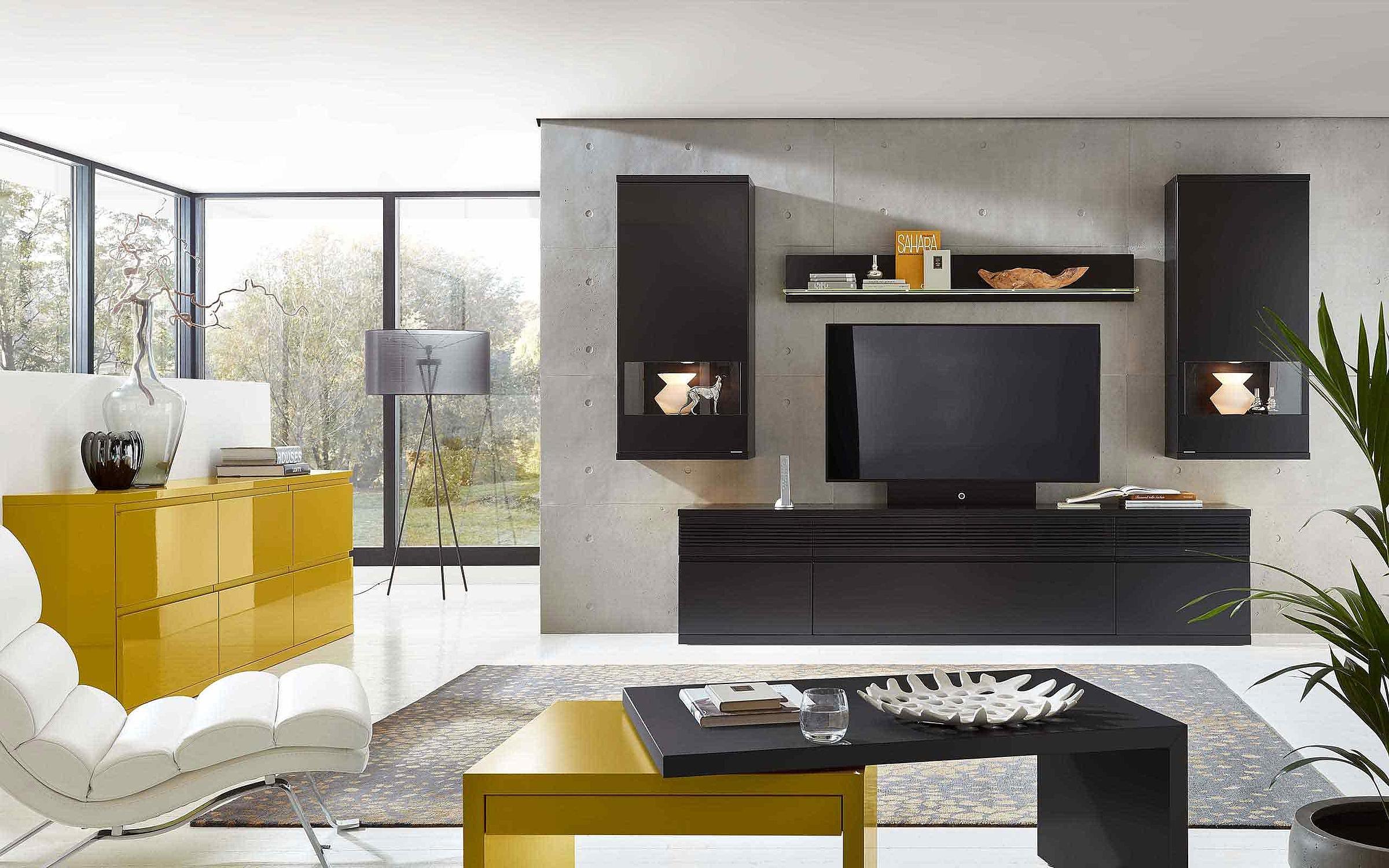 Wohnwand Kommode Wohnzimmer Enjoy gelb