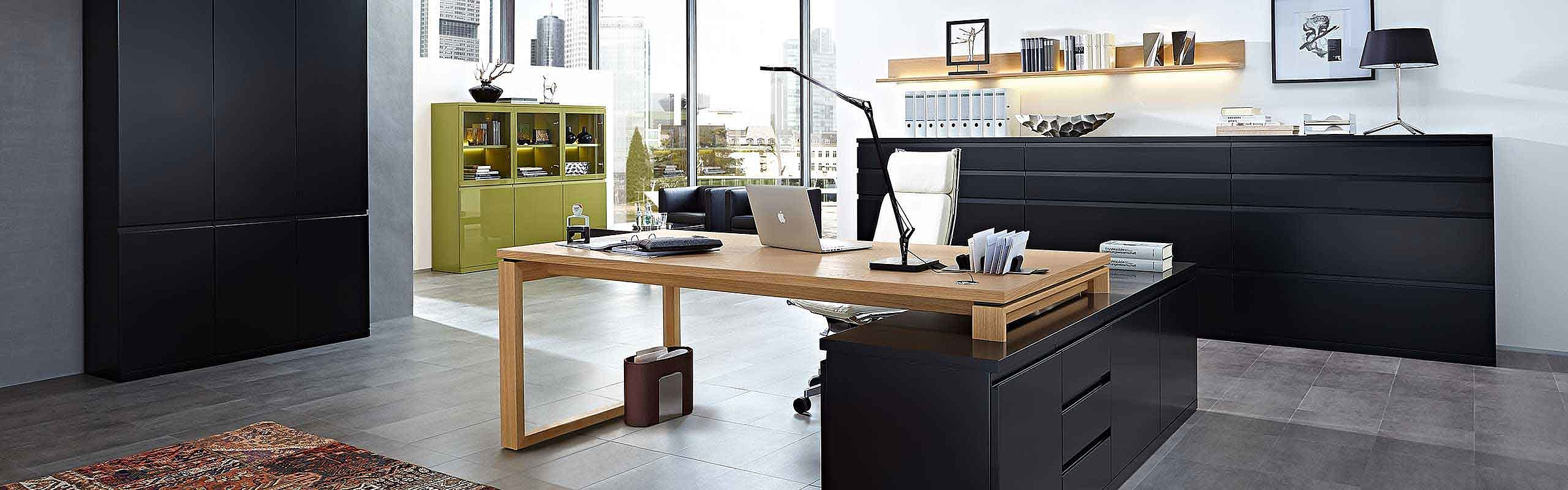 Garderobenschrank Sideboard Schreibtisch Büro Enjoy Lack schwarz
