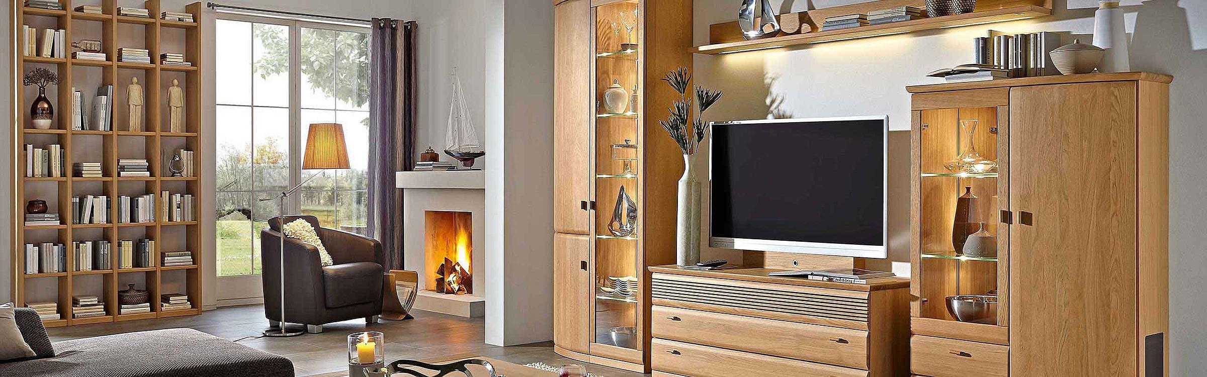 Regal Couchtisch Wohnwand Wohnzimmer Opus massiv