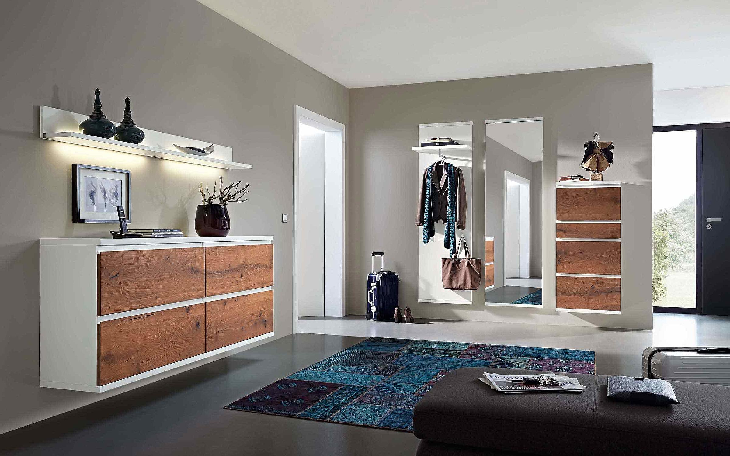 Schuhschrank hängend Wandboard Garderobenpaneel hängend Spiegel Garderobe Enjoy