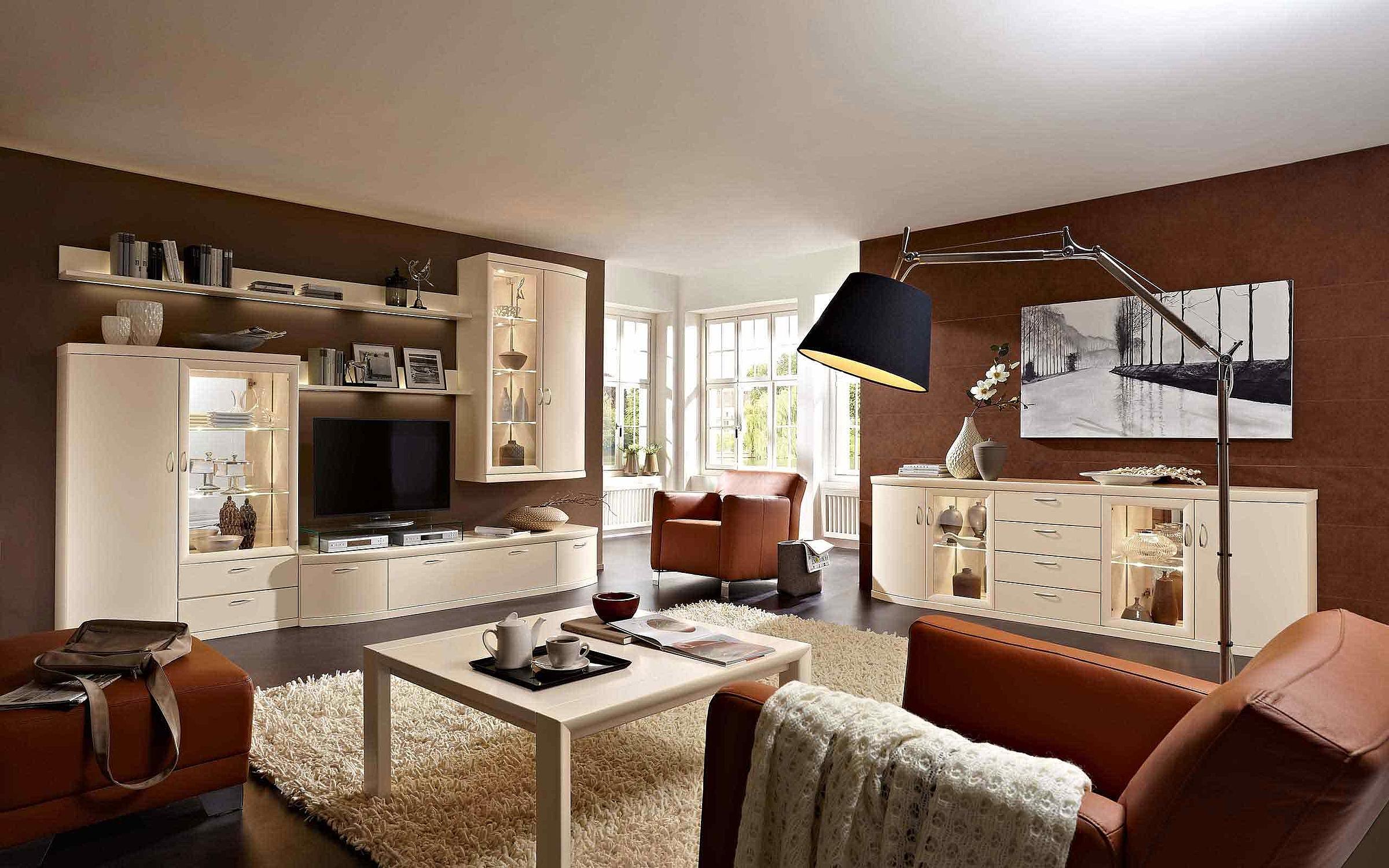 Wohnwand Sideboard Couchtisch Wohnzimmer Malta Lack crema