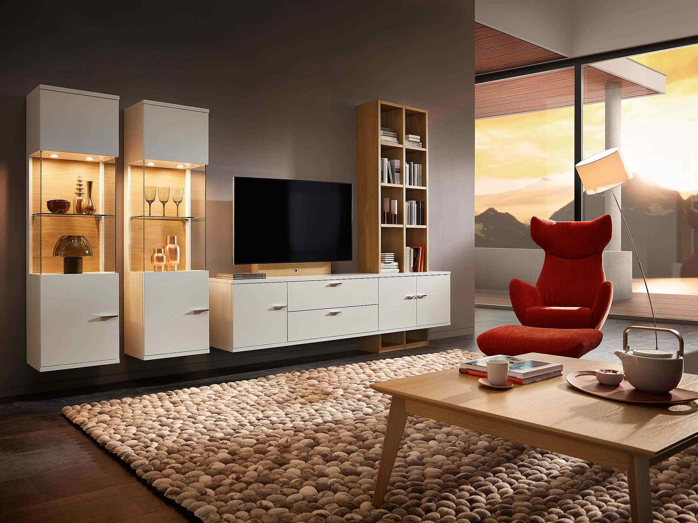 Wohnwand Couchtisch Wohnzimmer Holz Eiche sand Lavita