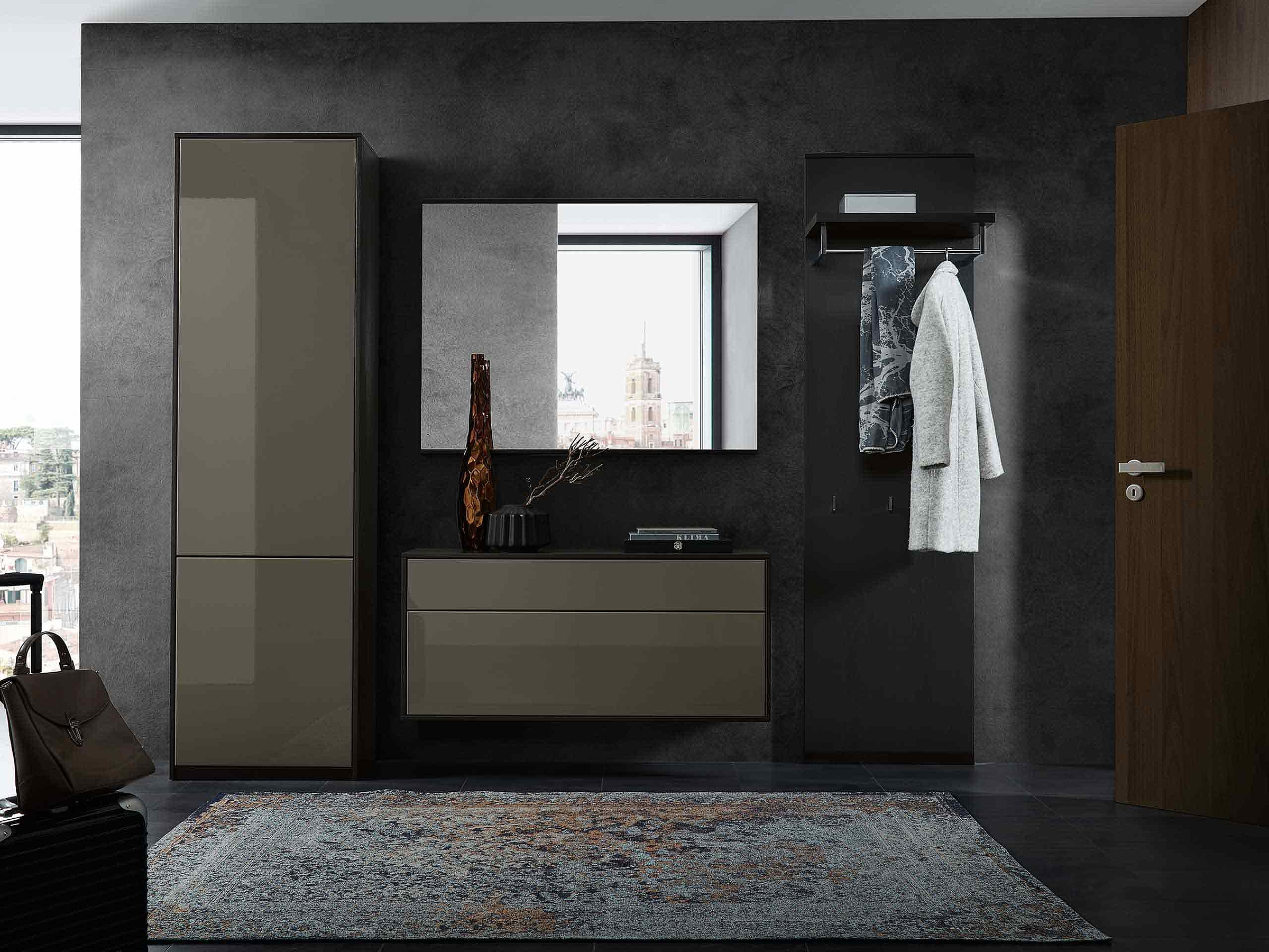 Garderobenpaneel Schuhschrank Spiegel Garderobe Deviso Hochglanz