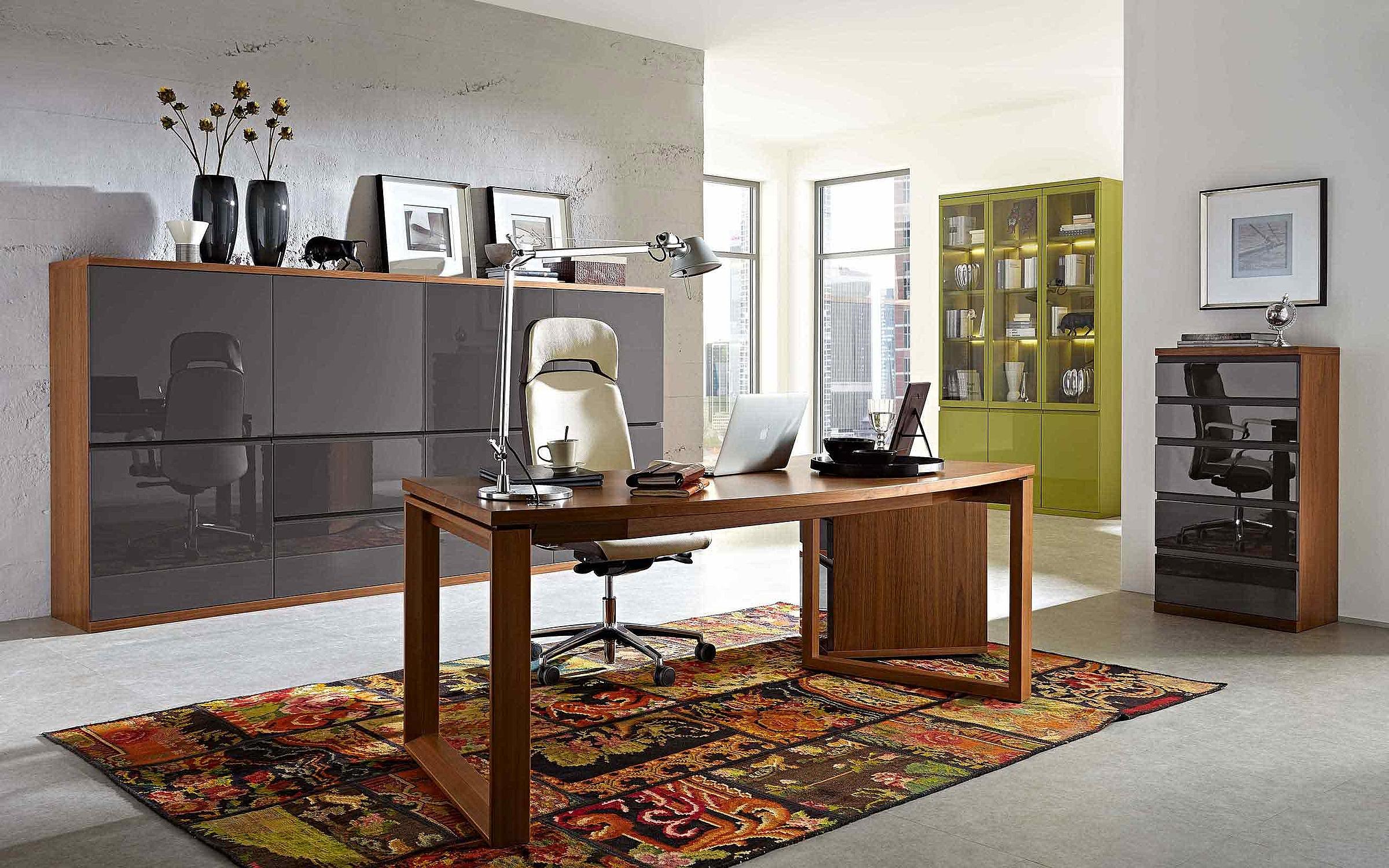 Highboard Schreibtisch Rollcontainer Vitrine Büro Enjoy hochglanz