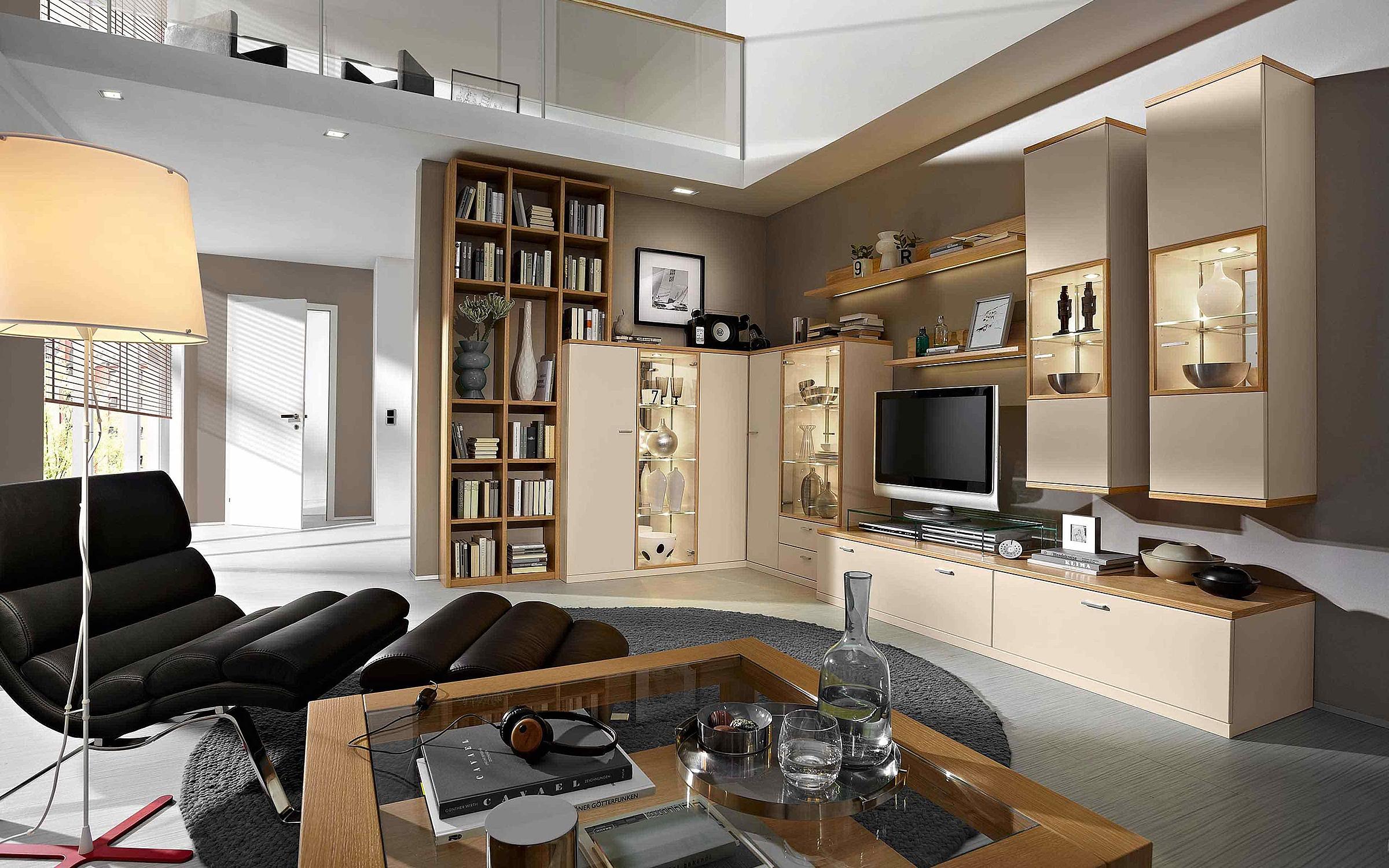 Eckwand Regal Couchtisch Wohnzimmer Manhattan