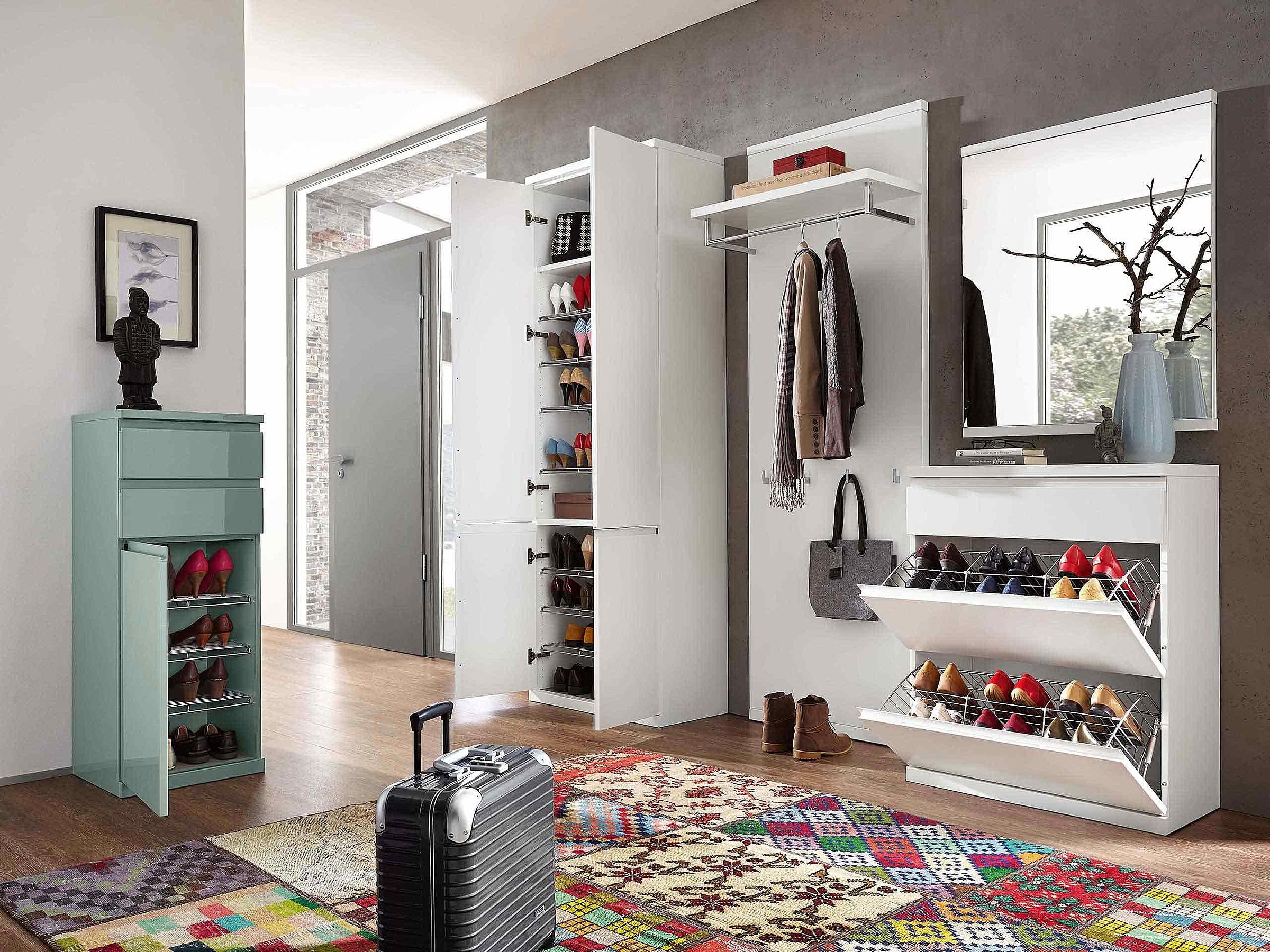 Garderobenschrank Garderobenpaneel Schuhschrank Spiegel Garderobe Enjoy Lack weiß