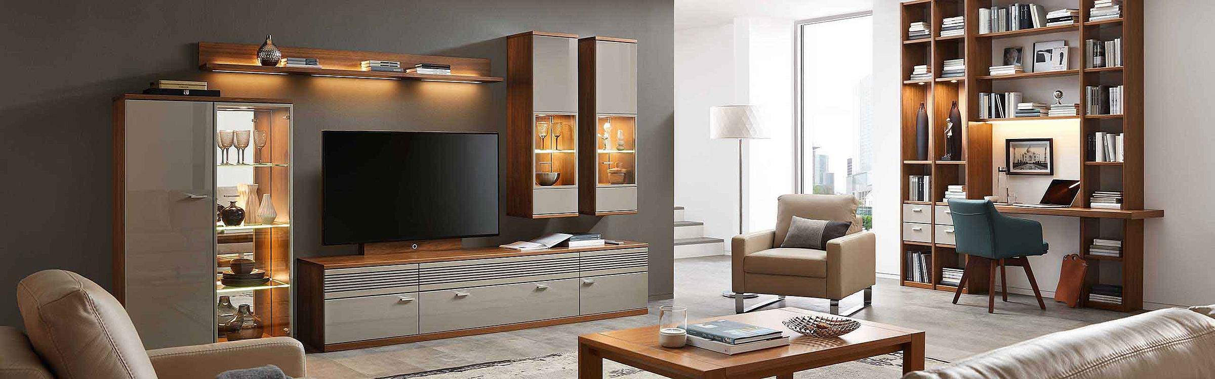 Wohnwand Couchtisch Schreibplatz Wohnzimmer Manhattan Holz Nussbaum nova