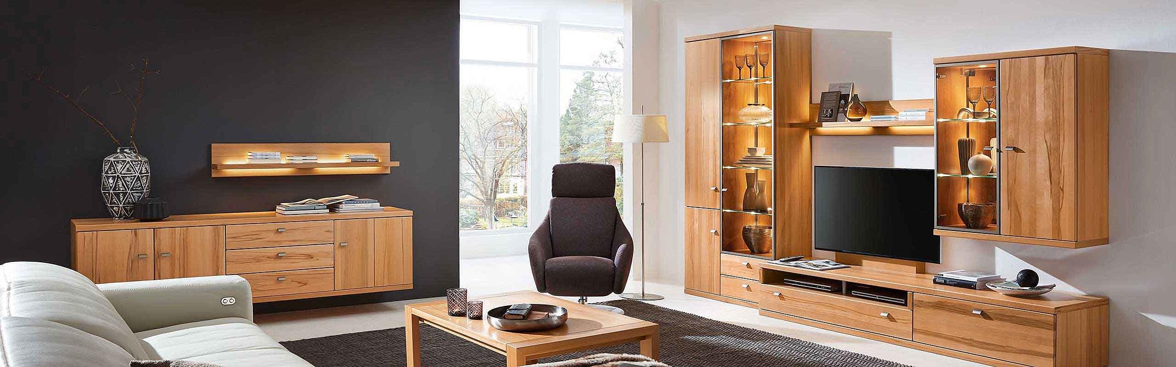 Hängesideboard Wohnwand Couchtisch Wohnzimmer Cento Holz Kernbuche massiv
