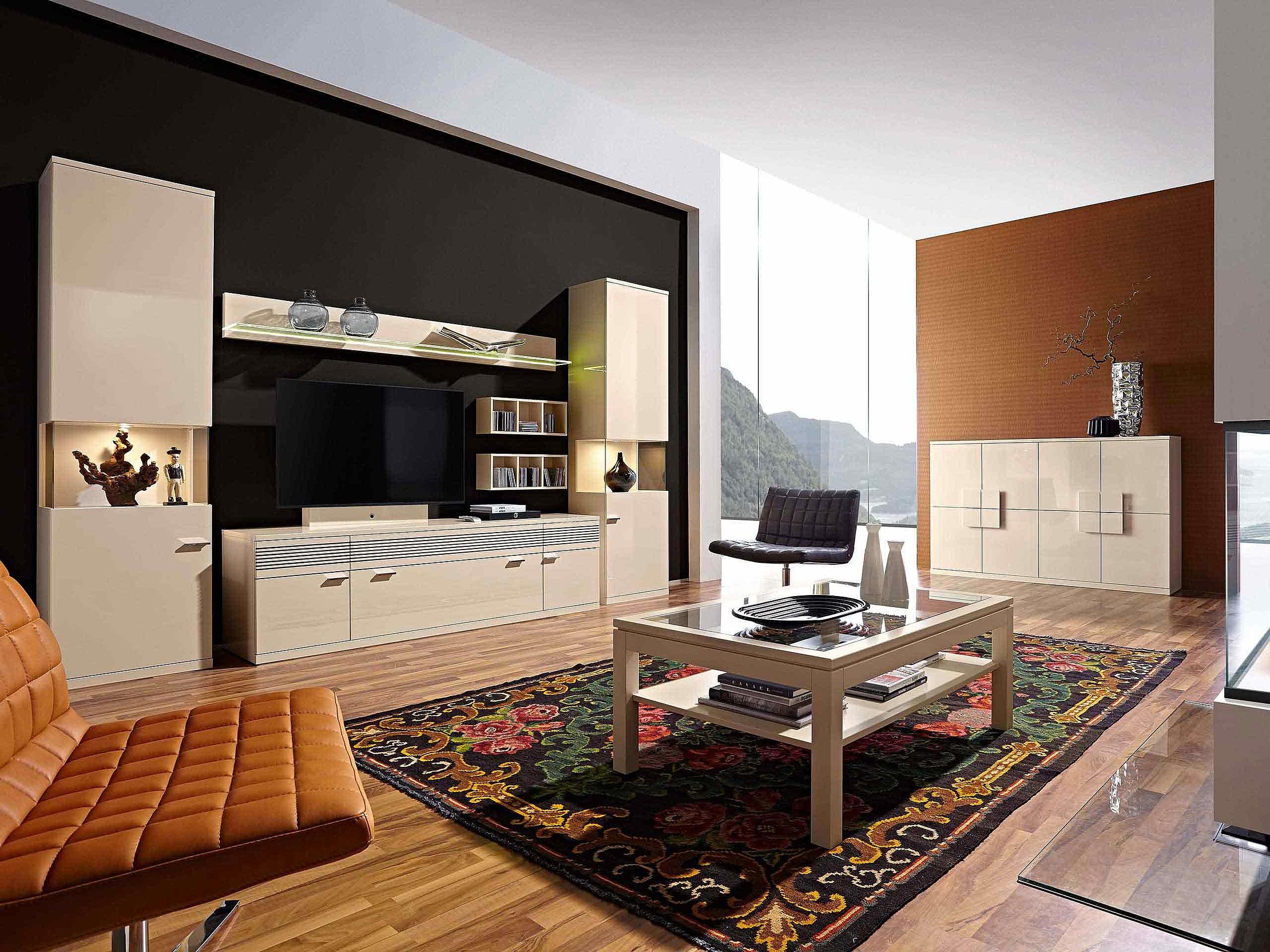Wohnwand Couchtisch Soundbar Wohnzimmer Lack crema Lavita