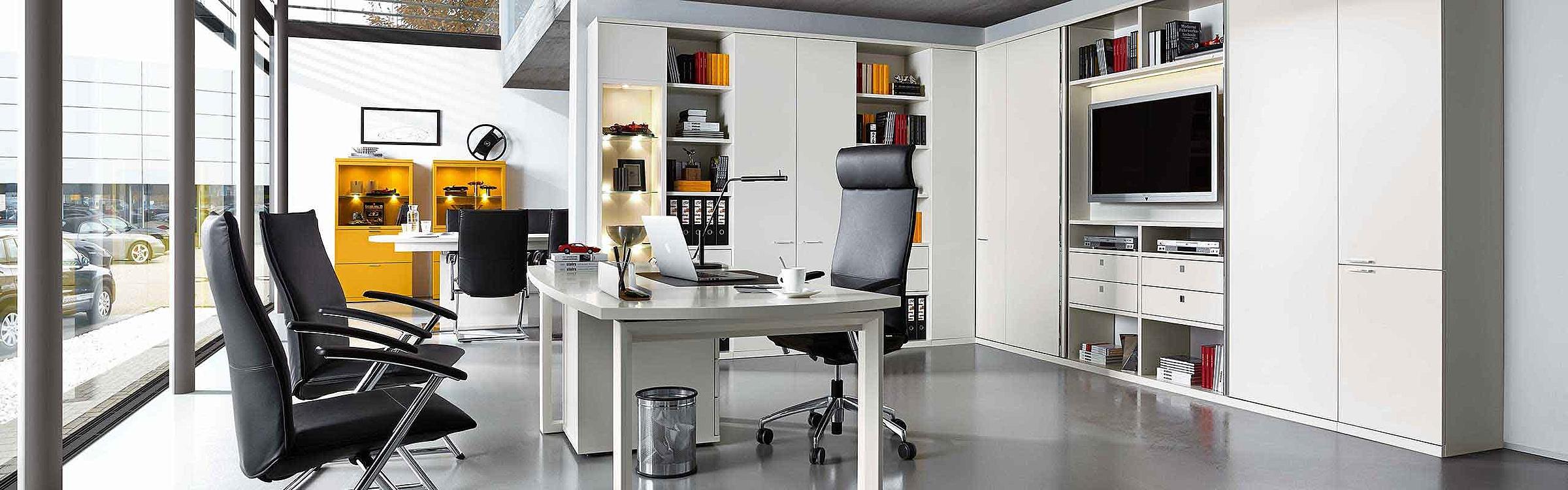 Schreibtisch Büro Siena Lack weiß gelb