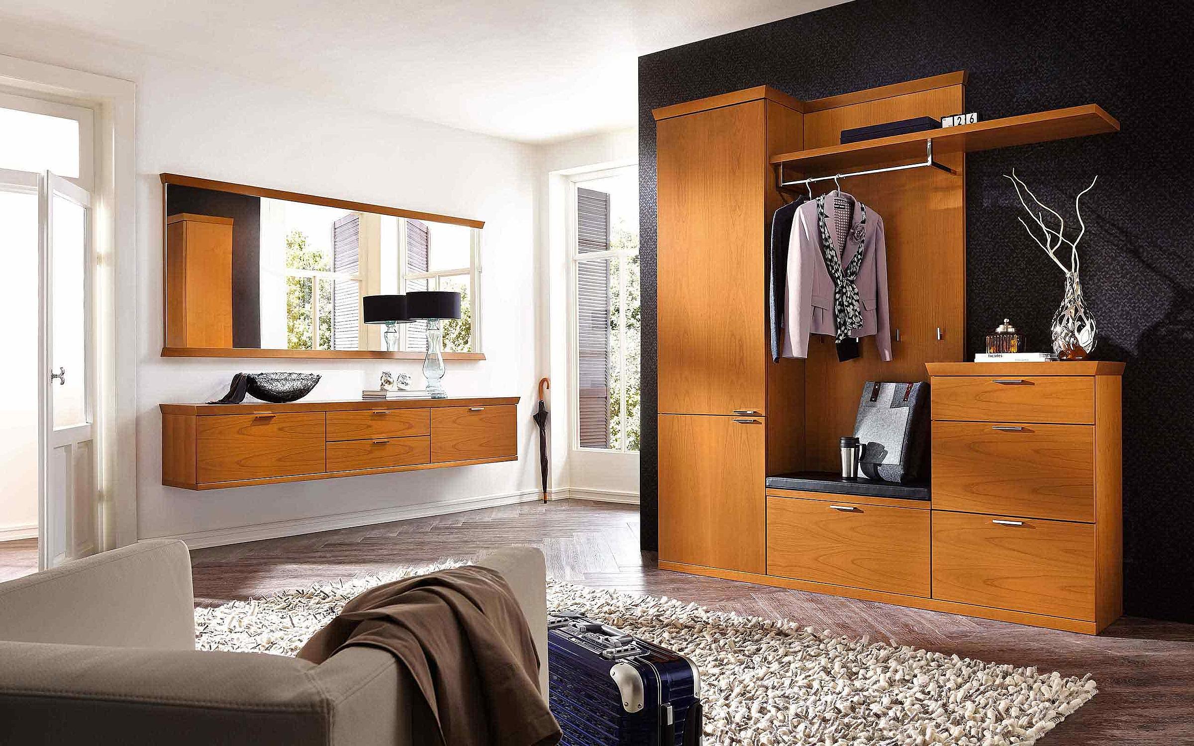 Schuhschrank hängend Spiegel Garderobenschrank Sitzbank Garderobe Siena Holz Kirschbaum