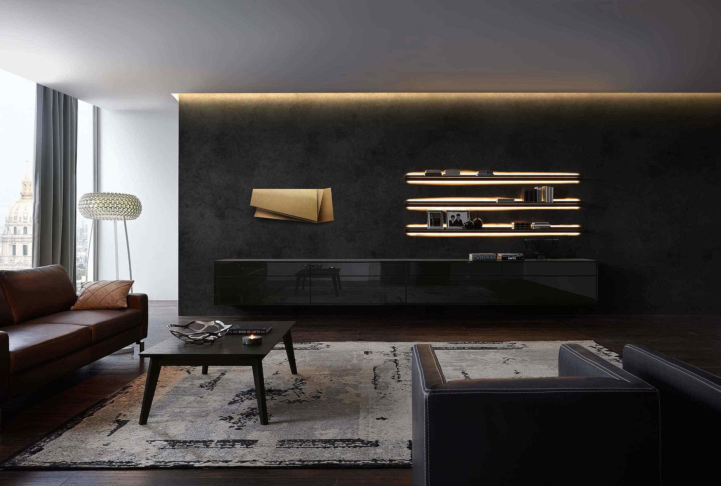 Wohnwand Wohnzimmer Deviso Lack schwarz
