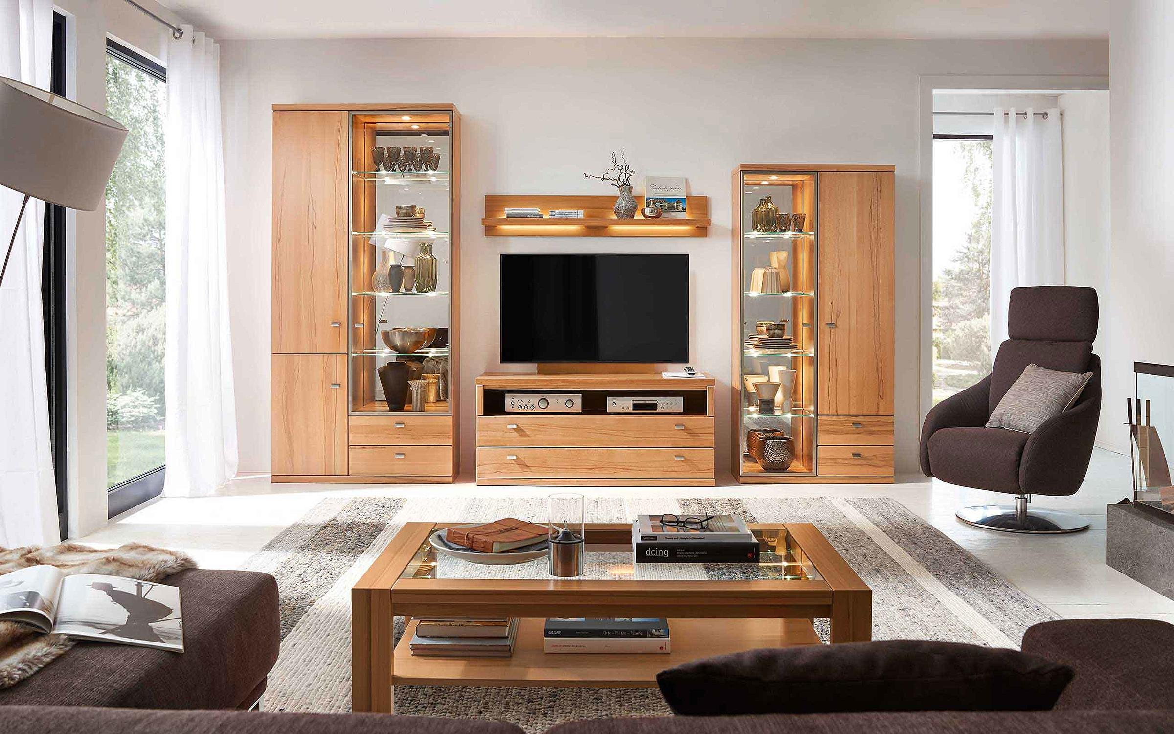 Wohnwand Couchtisch Wohnzimmer Cento Holz Kernbuche massiv