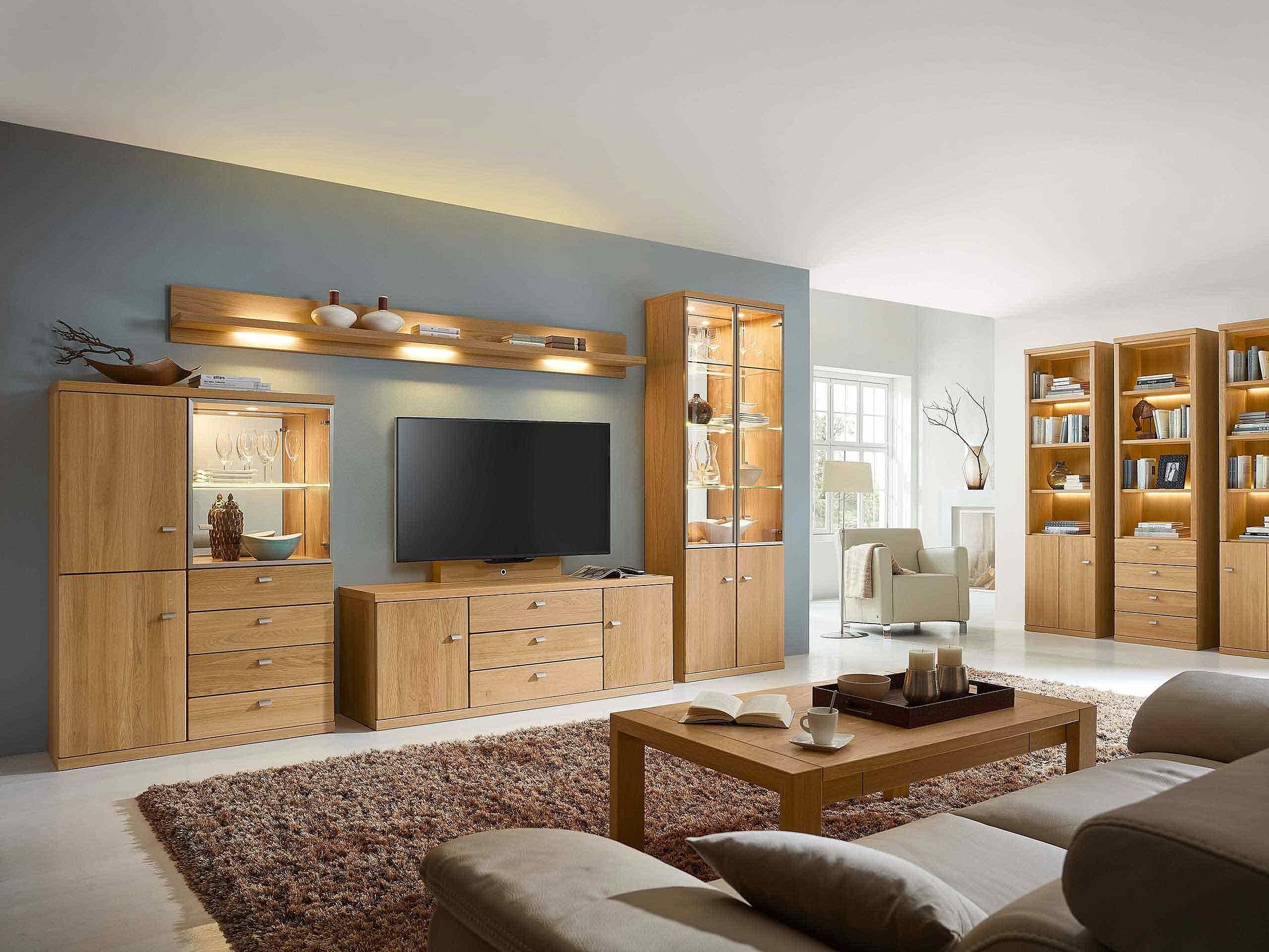 Wohnwand Couchtisch Vitrine Wohnzimmer Cento Holz