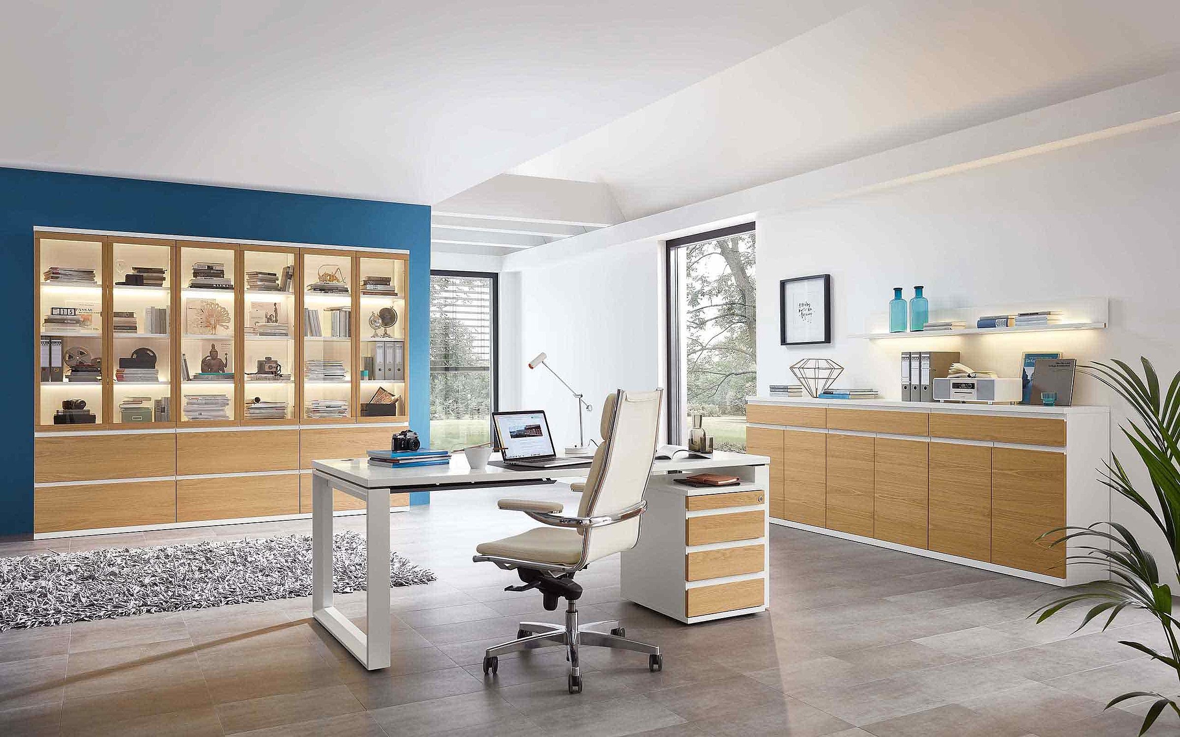 Vitrine Schreibtisch Rollcontainer Sideboard Büro Enjoy Lack weiß Holz Eiche sand