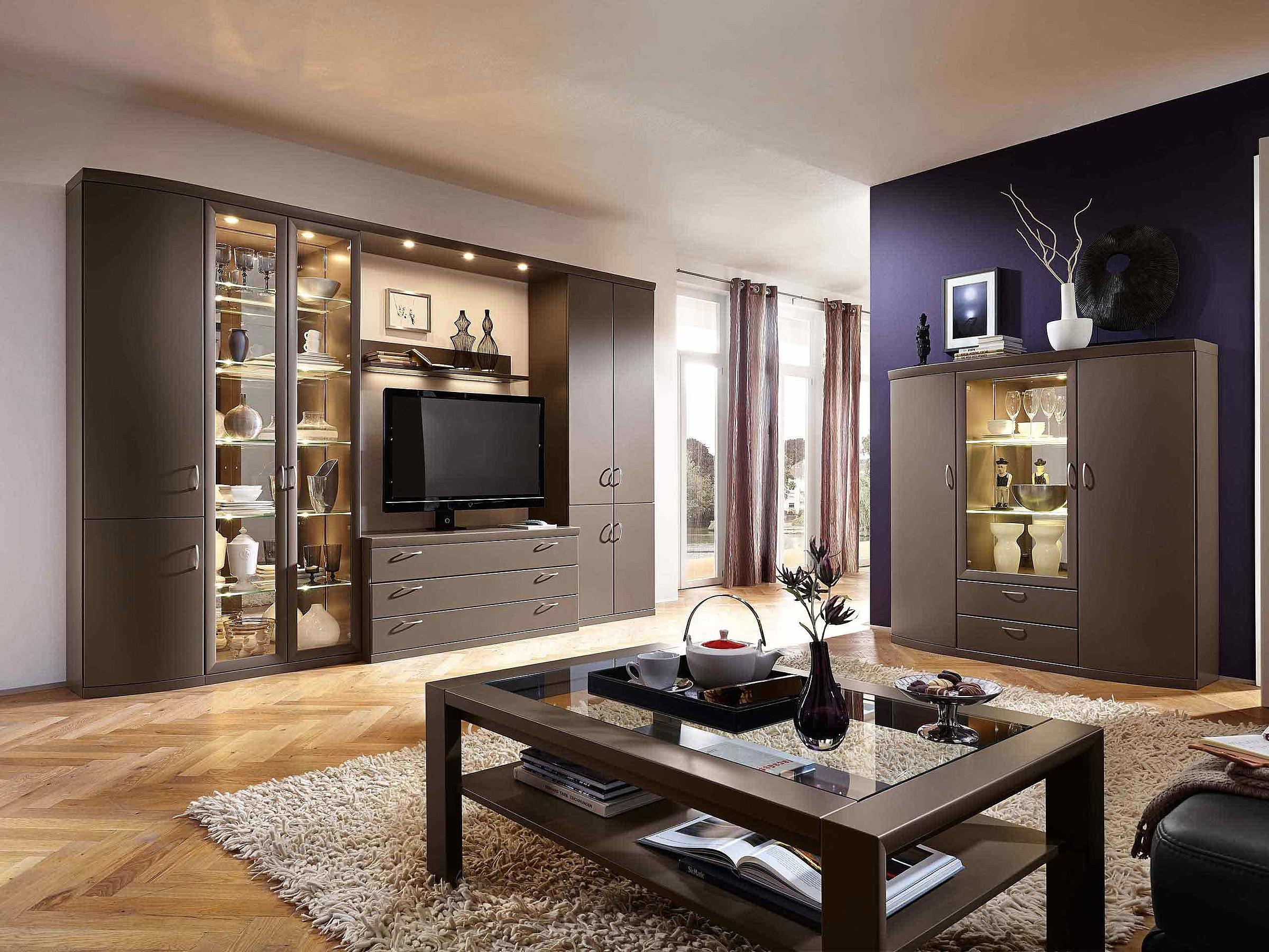 Wohnwand Vitrine Couchtisch Wohnzimmer Malta