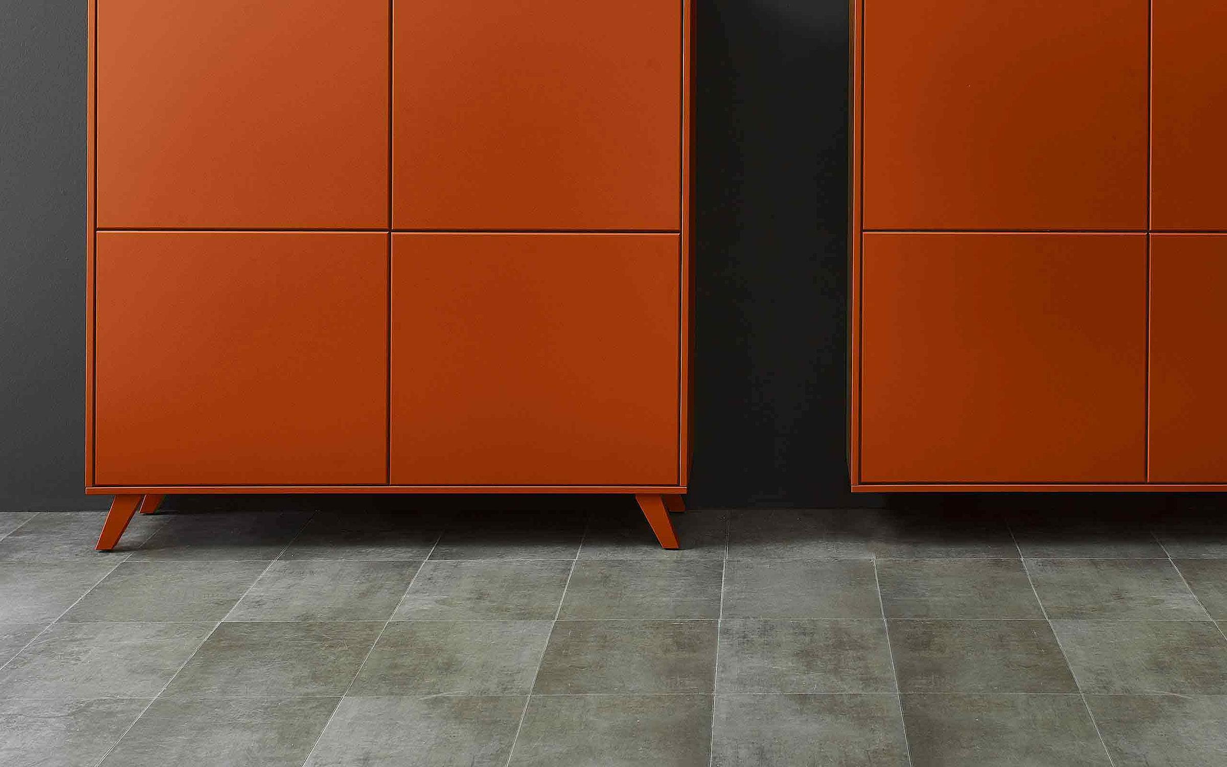 Sideboard Wohnzimmer Deviso Lack ziegelrot