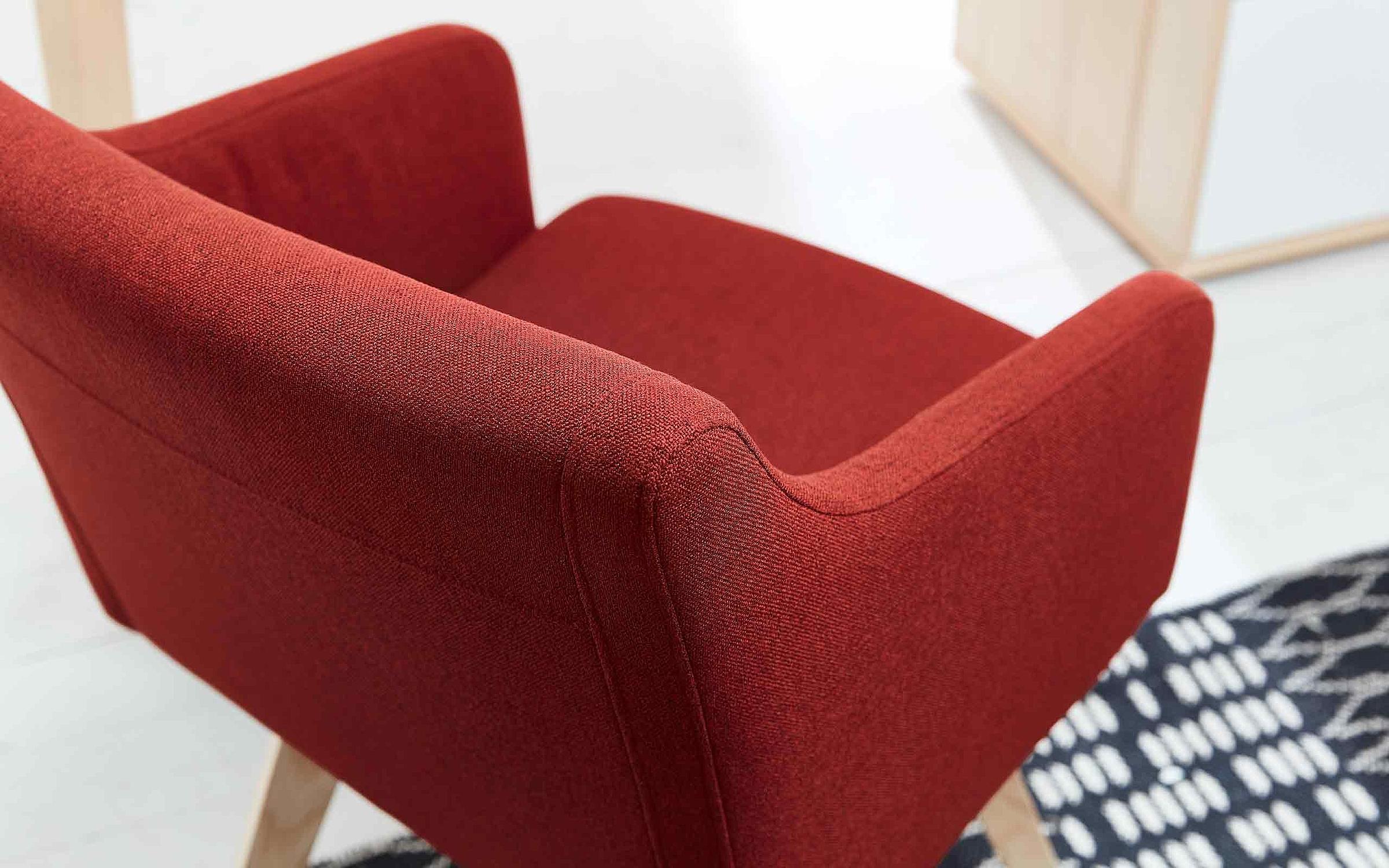 Stuhl R3 Stoff rot Holz Esszimmer Deviso