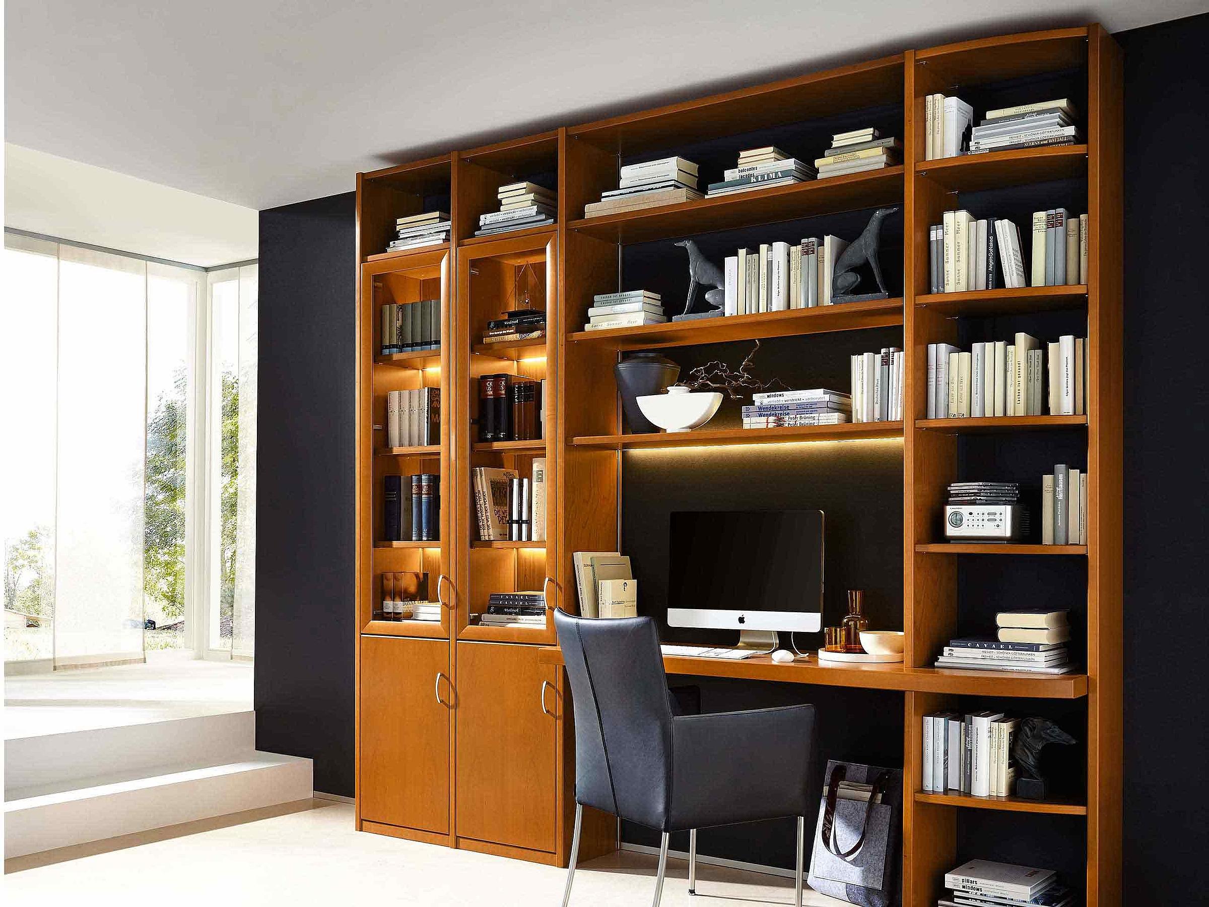 Bibliothek Schreibplatz Vitrine Wohnzimmer Malta Holz Kirschbaum