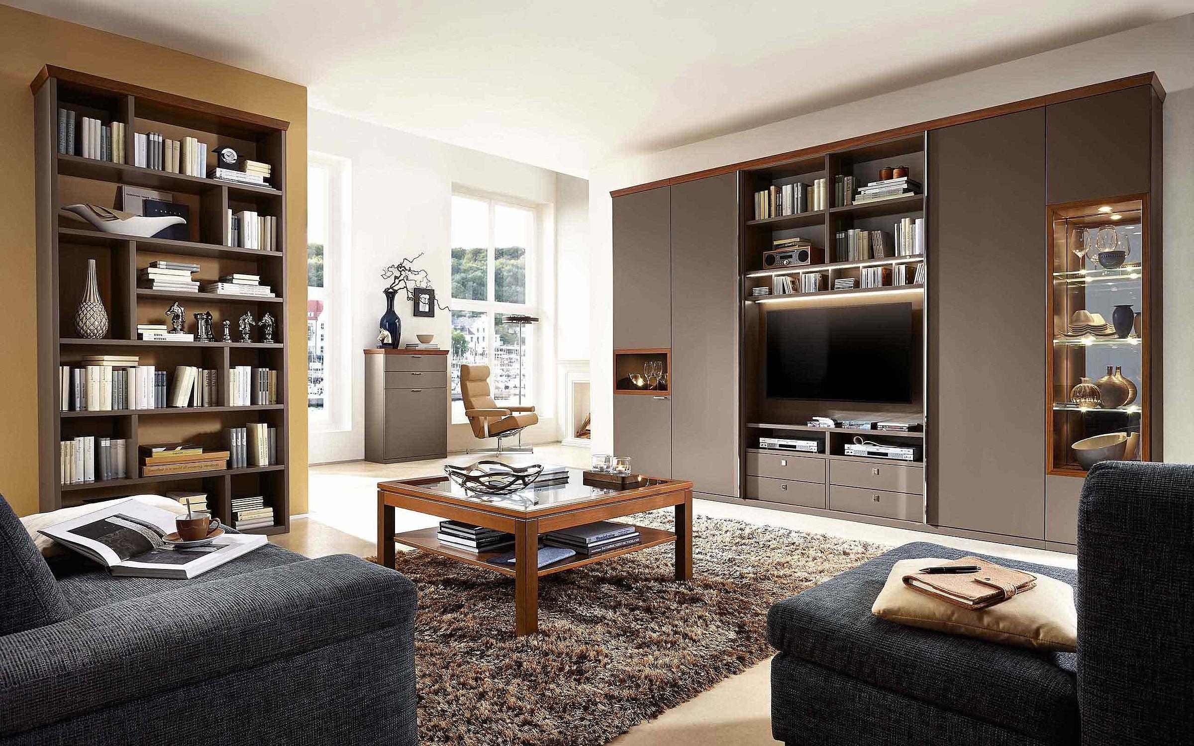 Wohnwand Wohnzimmer Couchtisch Siena Lack terra