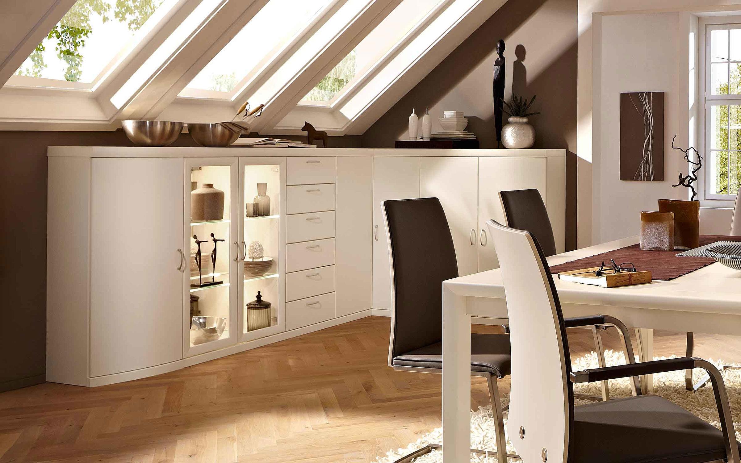 Ecke Sideboard Stuhl Polster Esstisch Esszimmer Malta Lack weiß