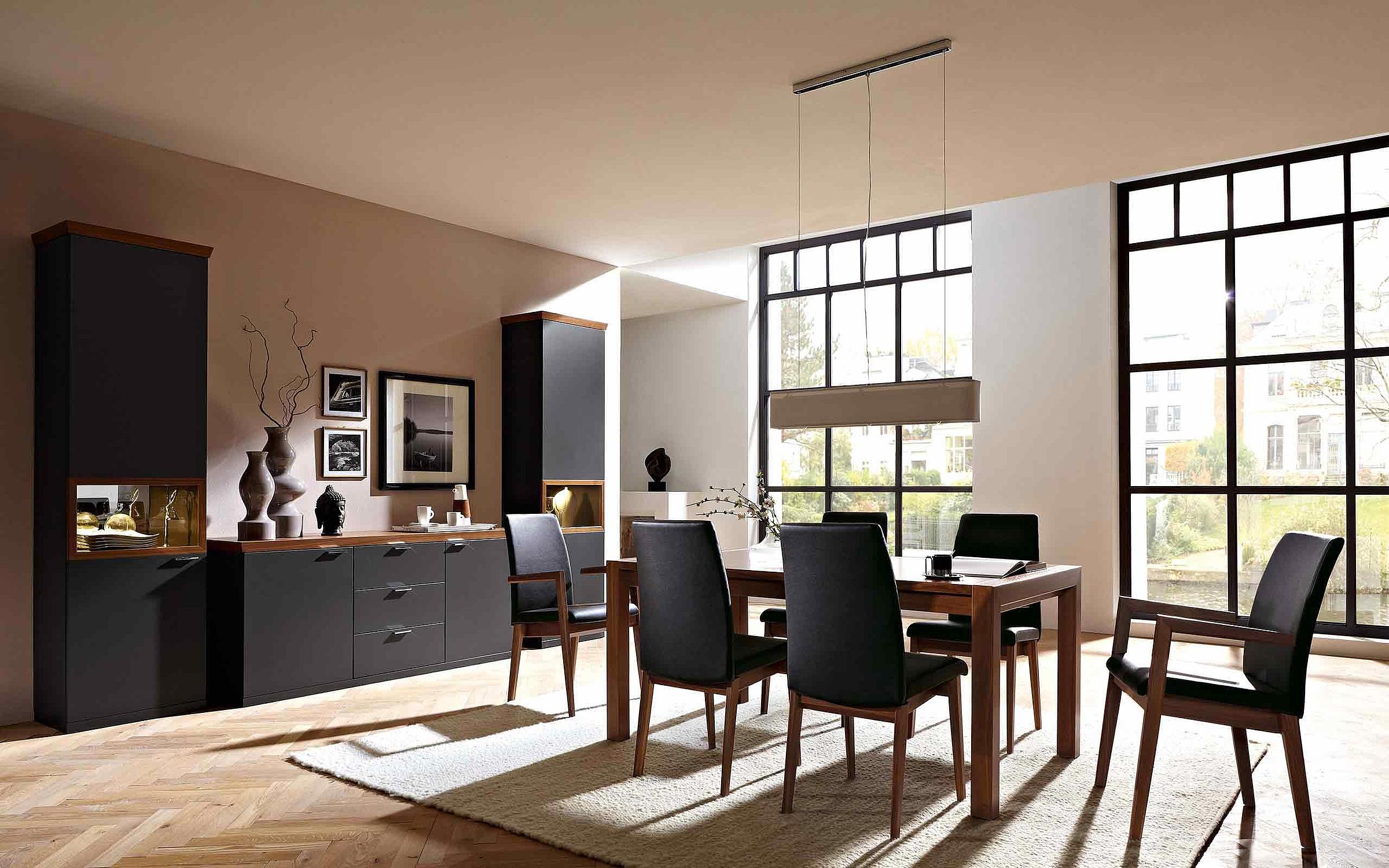 Wohnwand Esstisch Stuhl Leder Esszimmer Siena