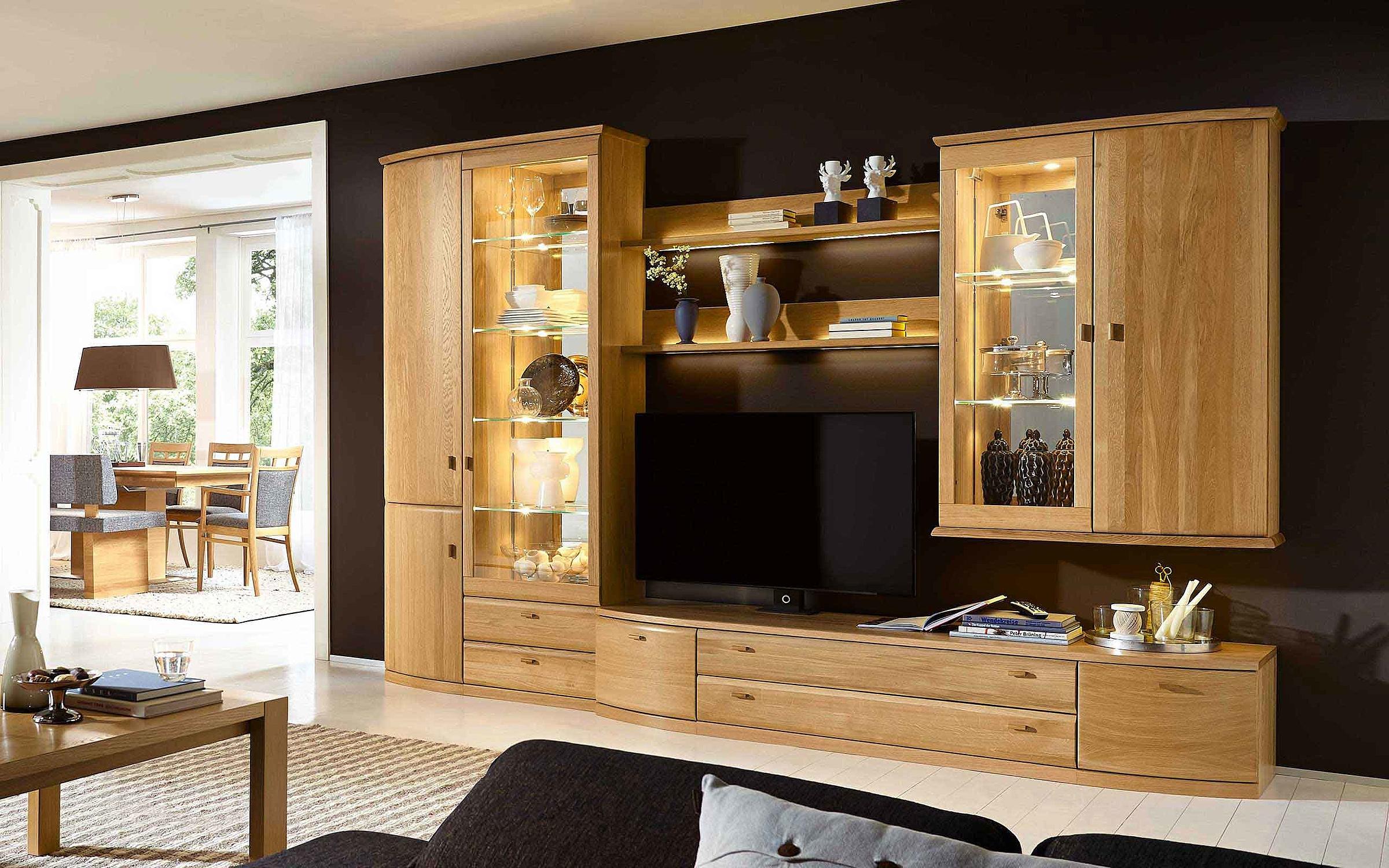Vitrine Wohnwand Couchtisch Wohnzimmer Opus Holz Eiche sand massiv
