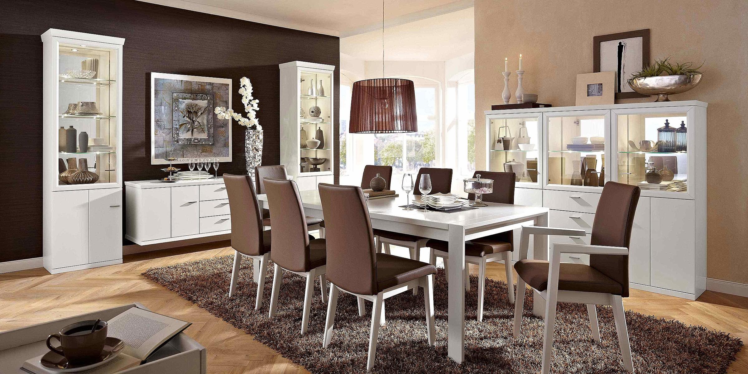 Wohnwand Stuhl Leder Esstisch Esszimmer Dacapo Lack weiß