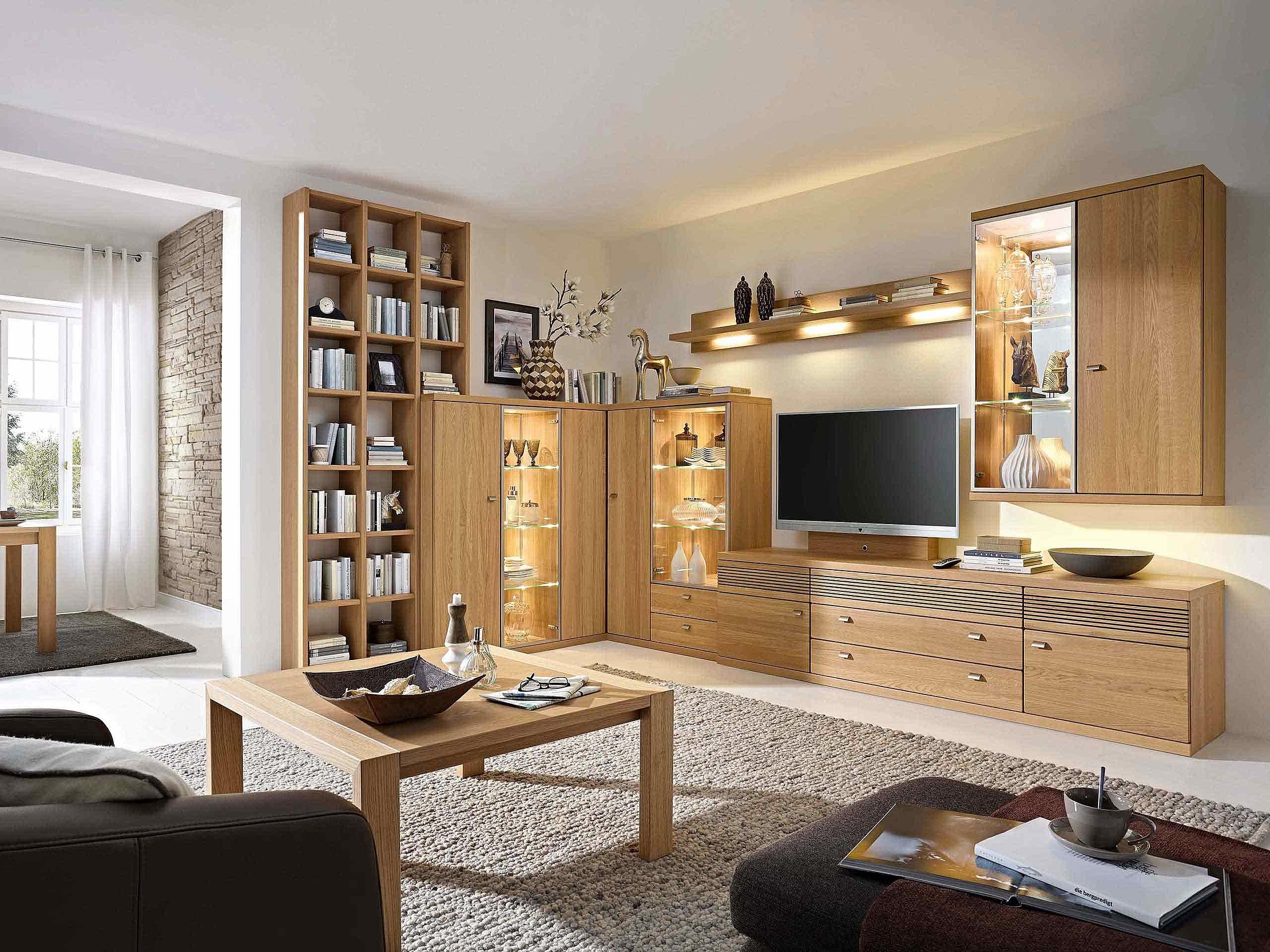 Regal Wohnwand Eckwand Couchtisch Wohnzimmer Cento